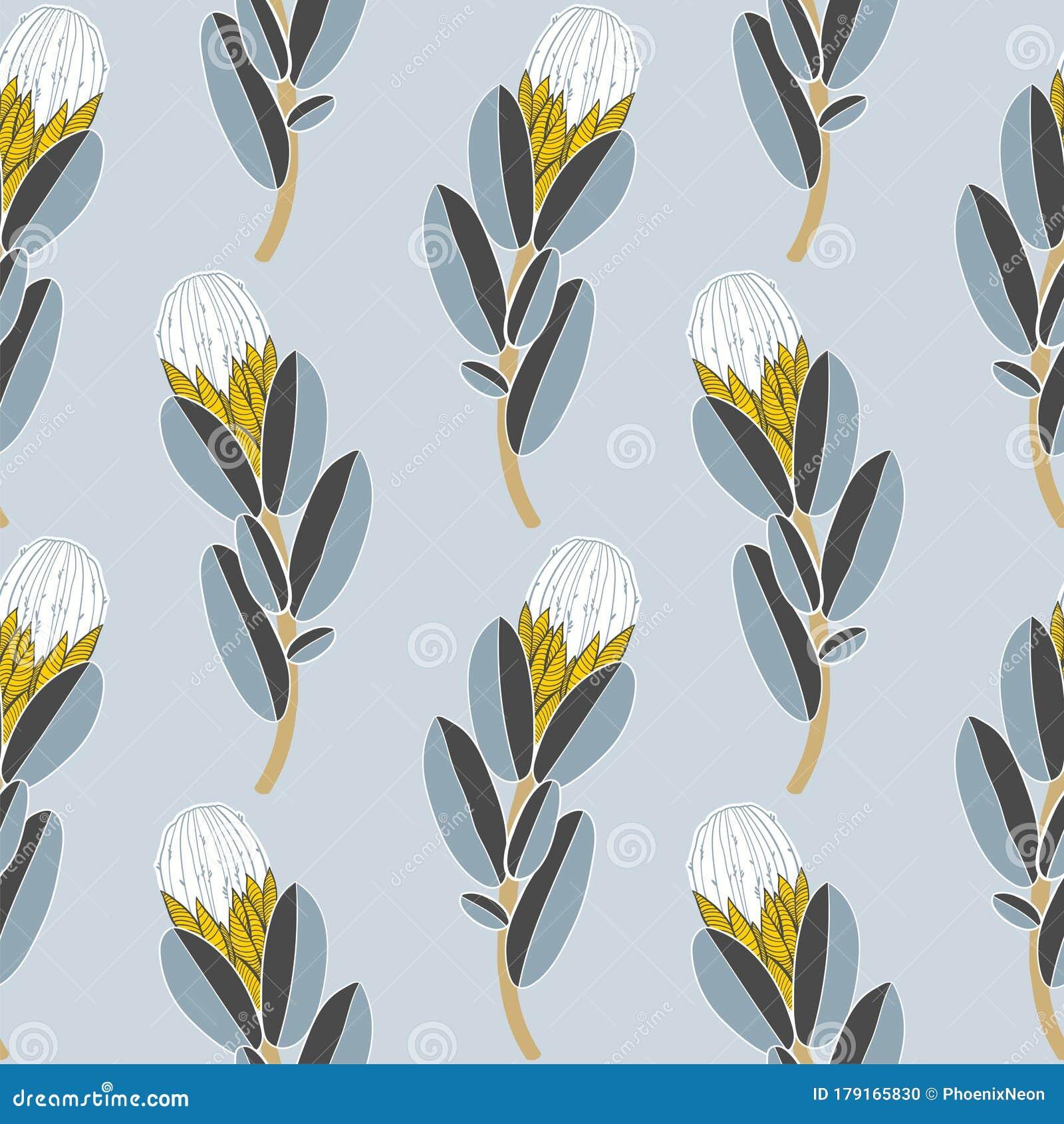 Protea Or Sugarbush Flower Seamless Pattern Exotic Vintage Minimalism Aesthetic Retro Background Stock Vector Illustration Of Geometric Background 179165830