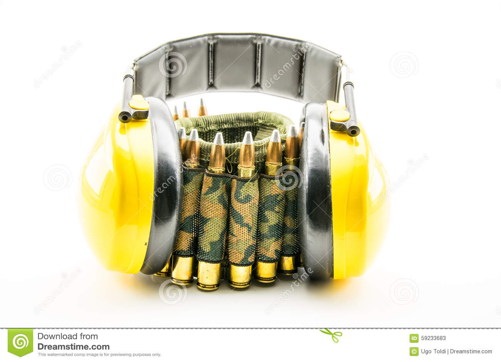 Download Protección Auditiva Amarilla Y Correa De La Munición Del Camuflaje Imagen de archivo - Imagen de cobre, ruidosamente: 59233683