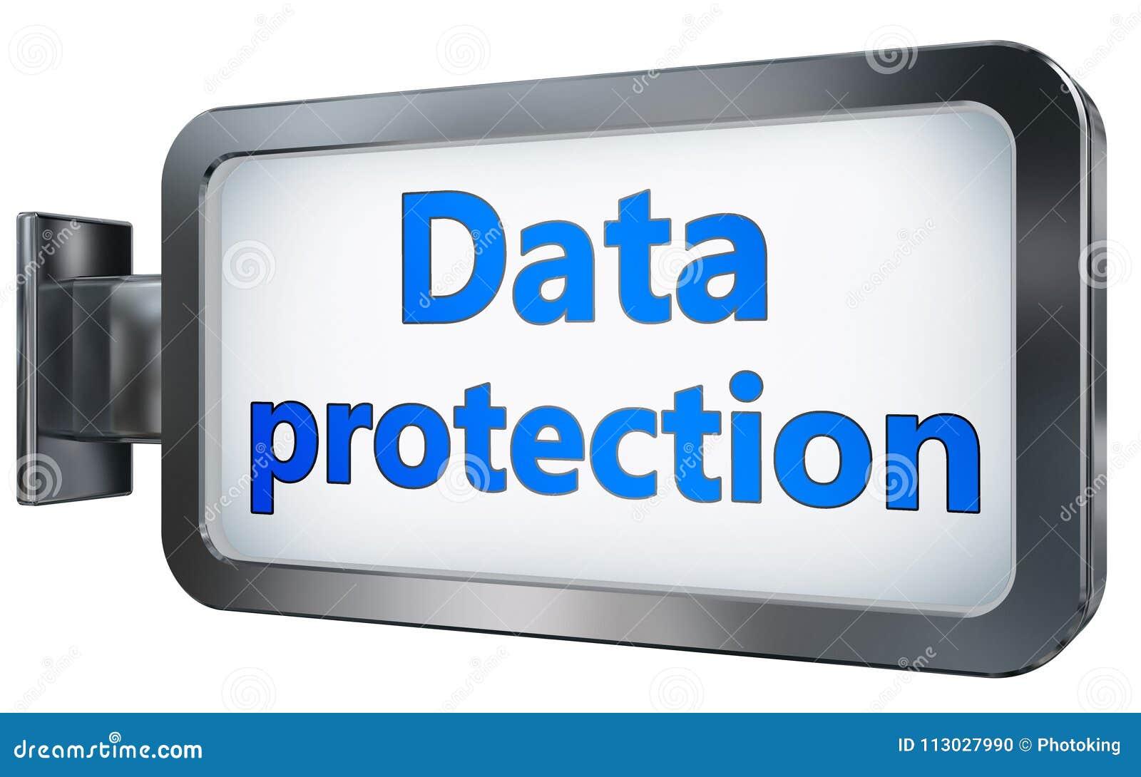 Protección de datos en fondo de la cartelera
