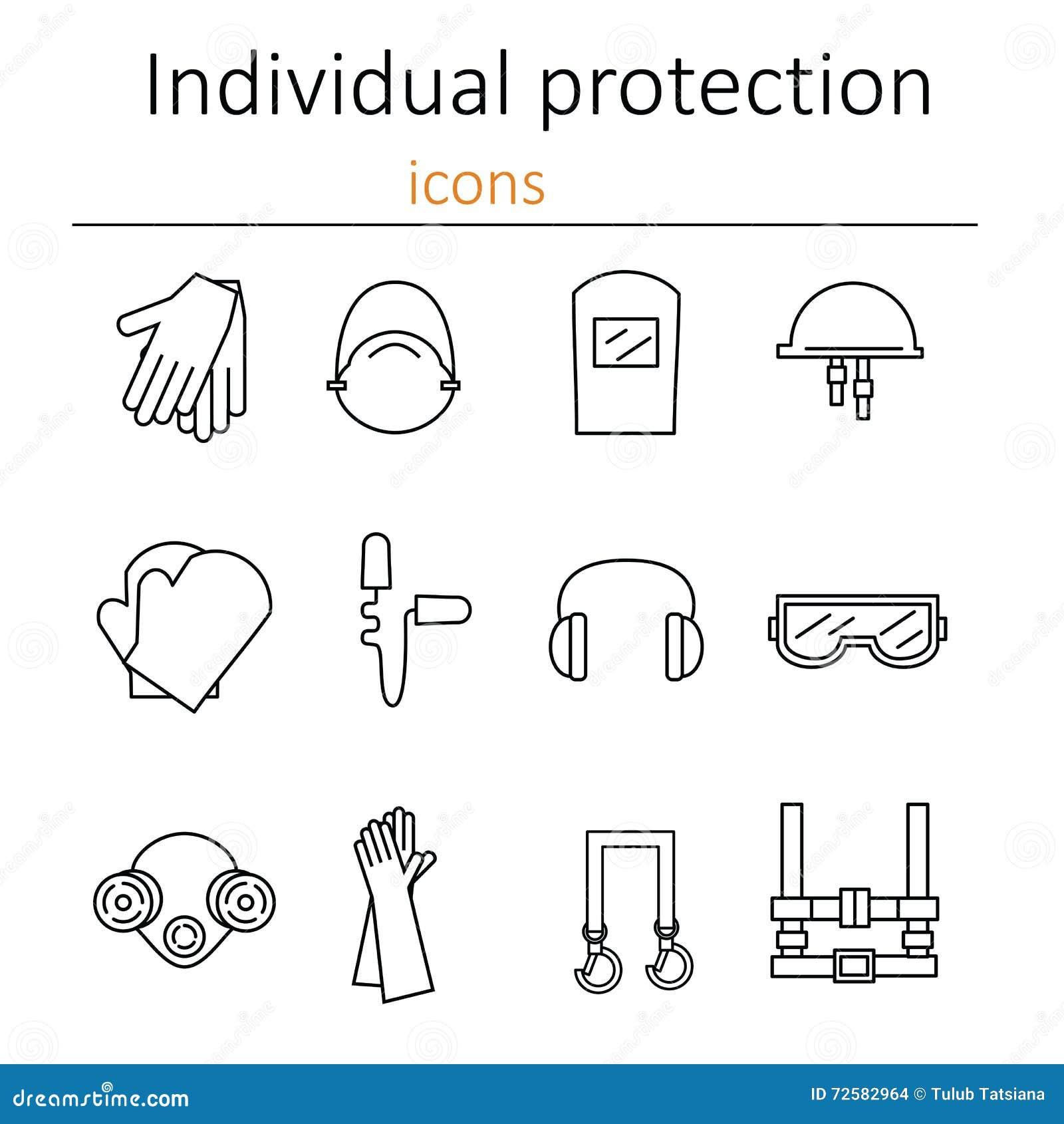 Protección individual Sistema de iconos del equipo protector personal en la construcción
