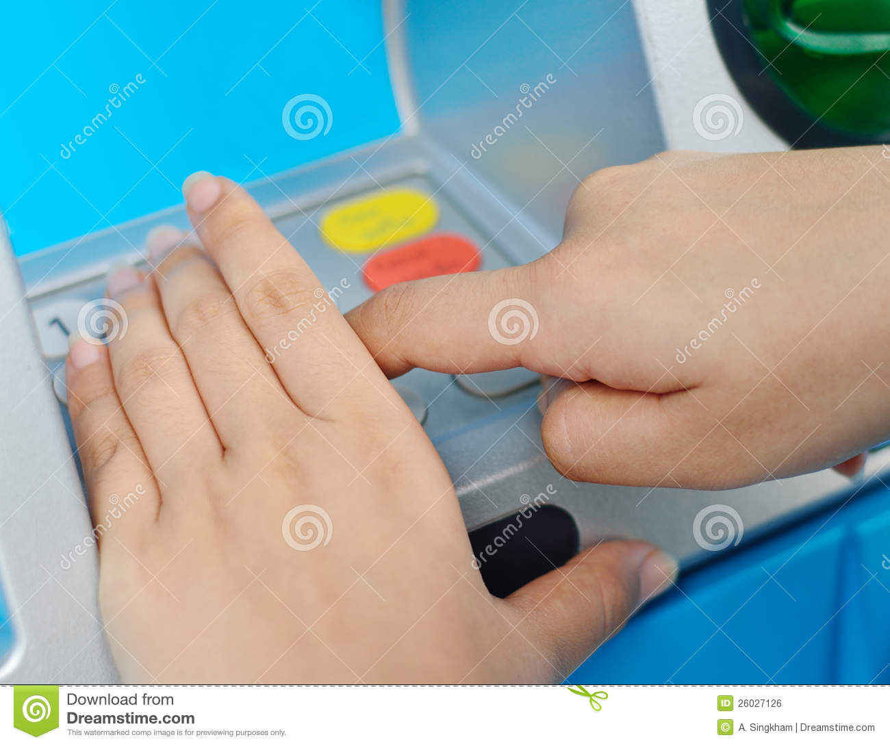 Protect of ATM pin by hands