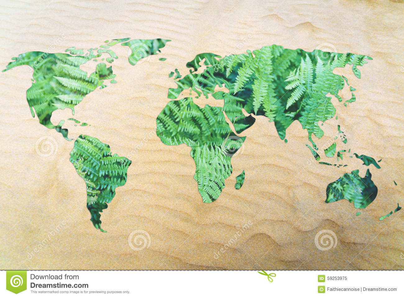 Protect The Environment From Desertification World Map With Lea