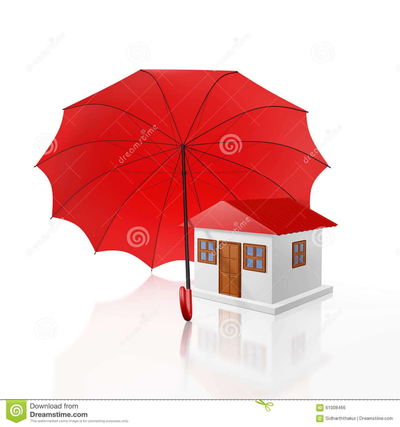 Protected Home Under a Red Umbrella