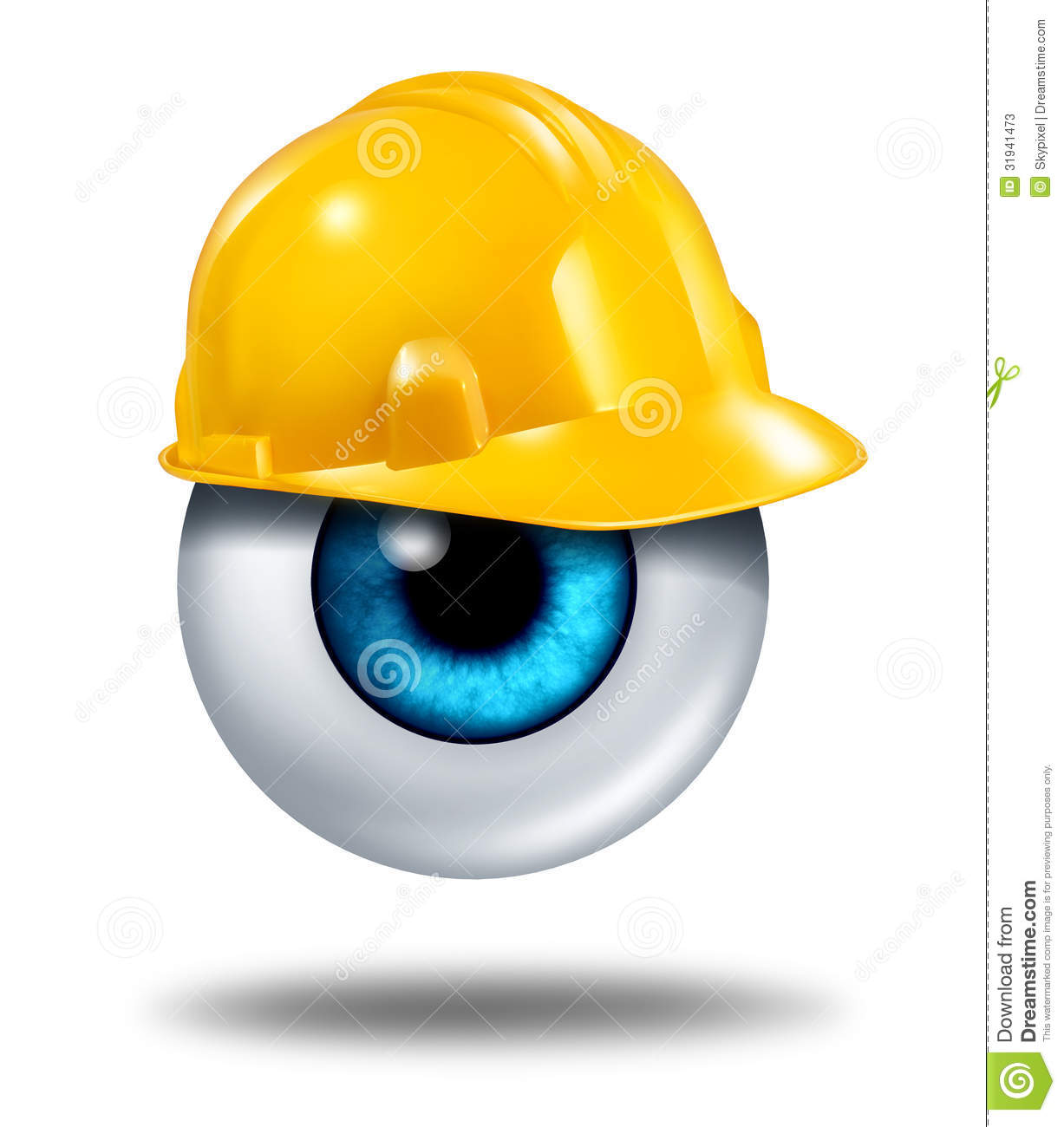 vision protection with a human eyeball wearing a yellow construction ...