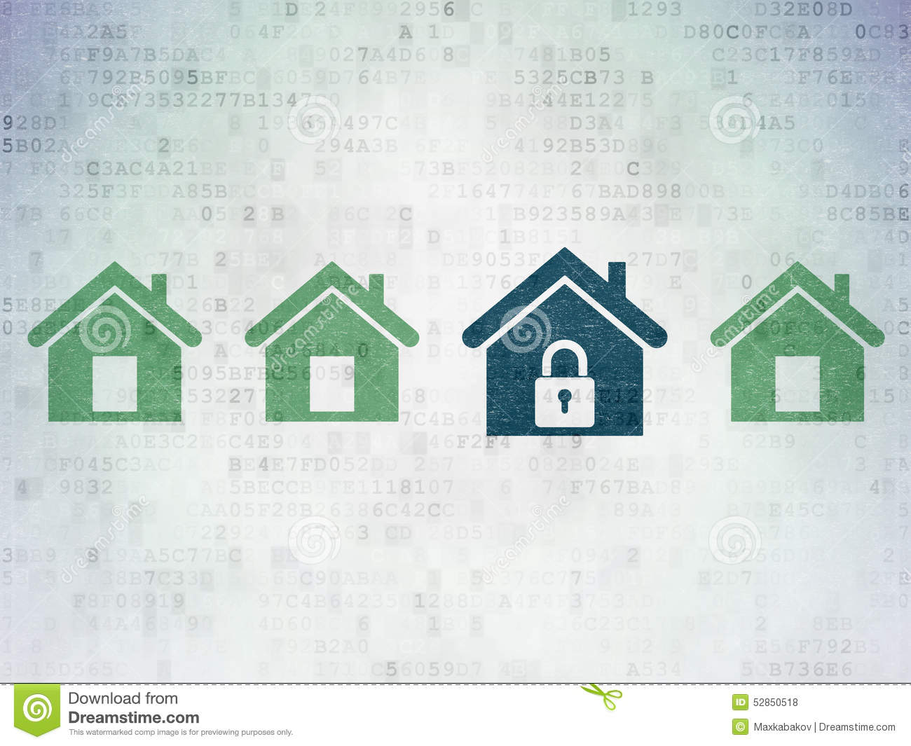 Protection concept: blue home icon on digital