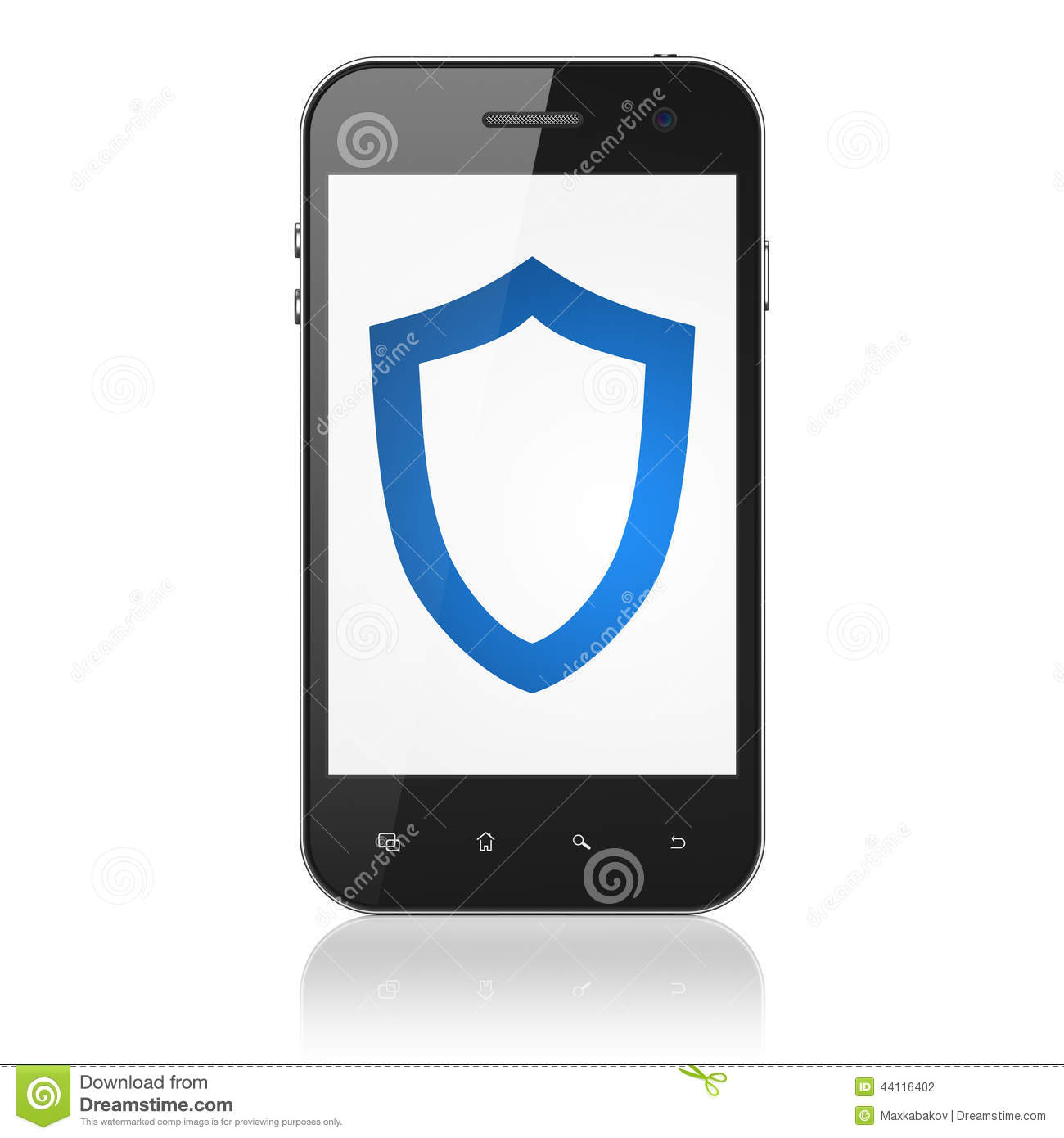 Protection Concept: Contoured Shield On Smartphone Stock ...