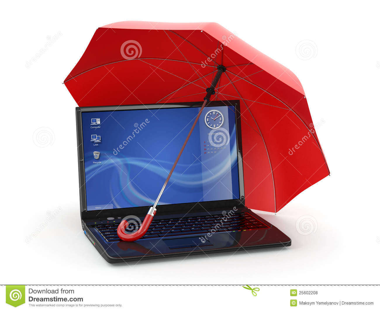 Protection Of Information Laptop And Umbrella Royalty
