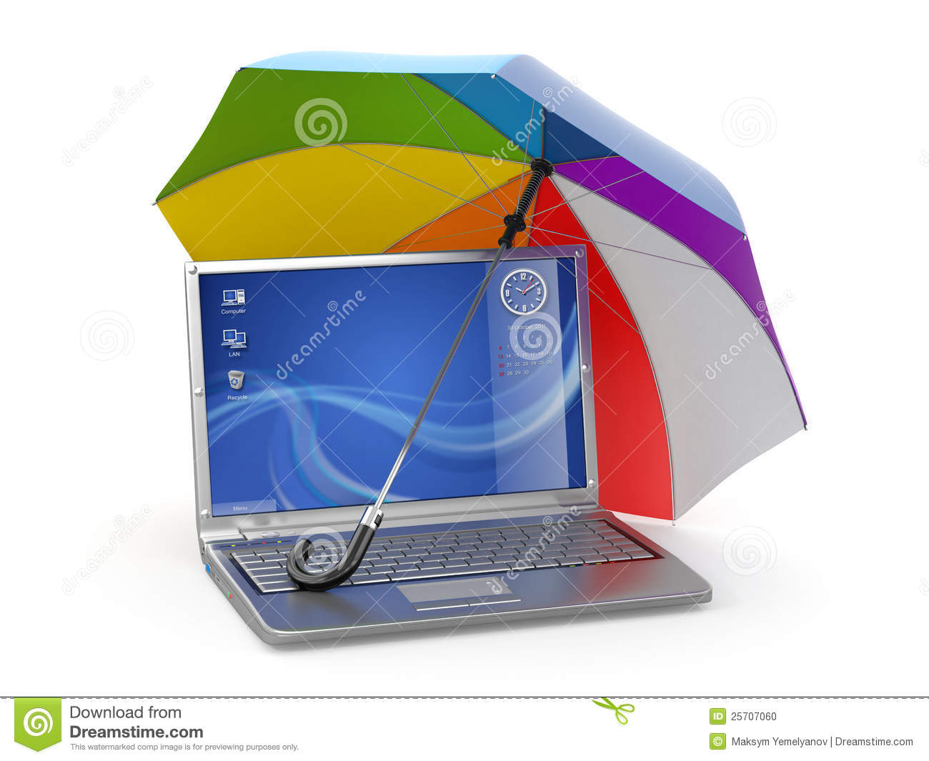 Protection Of Information Laptop And Umbrella Stock Photo