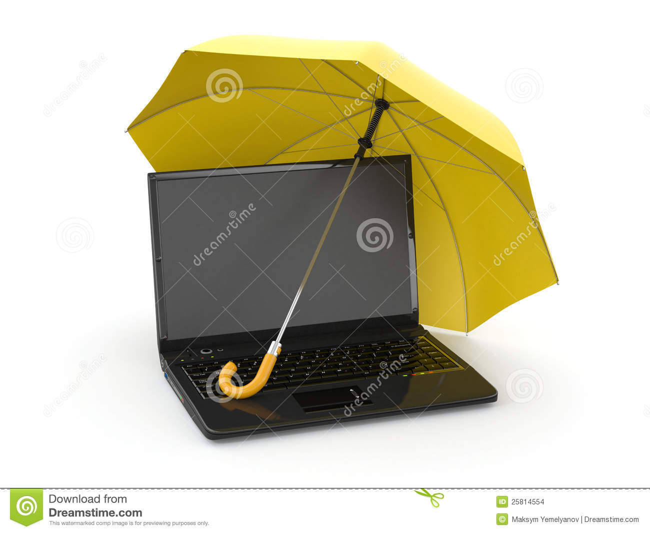 Protection Of Information Laptop And Umbrella Stock