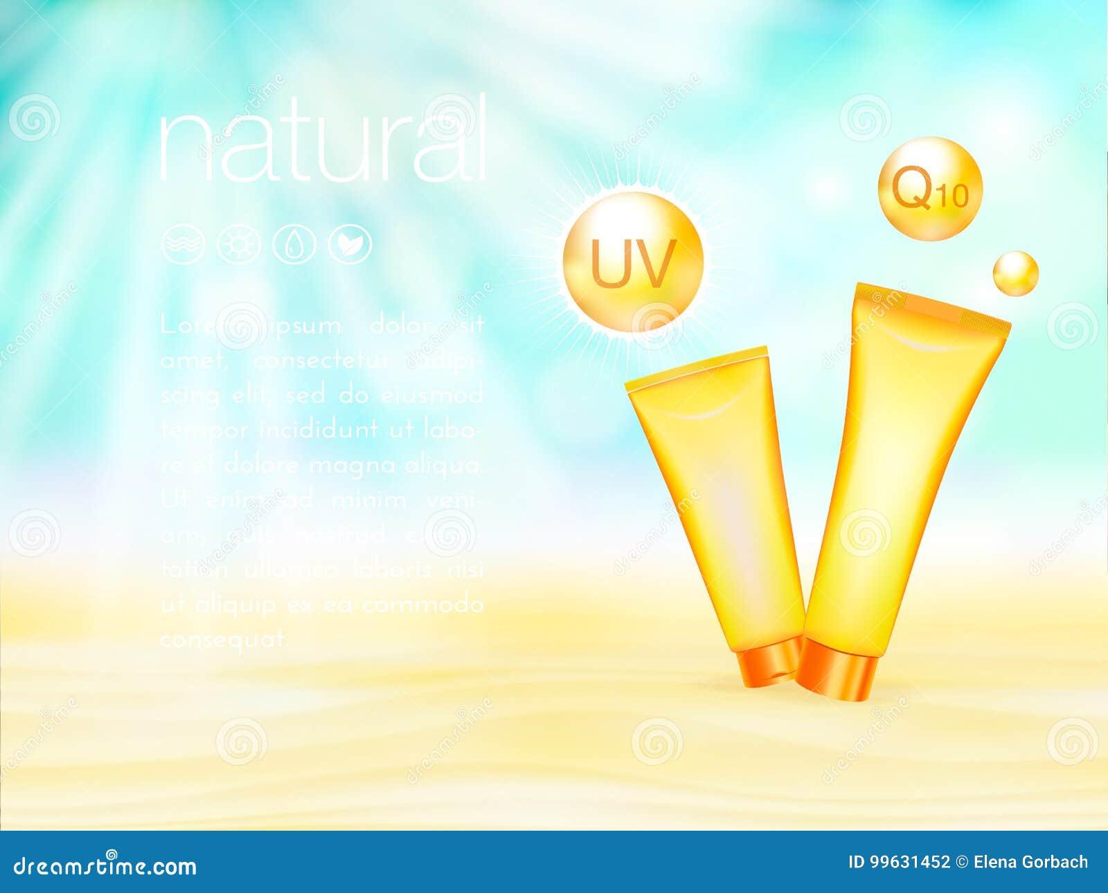 Protection UV Conception de produits cosmétique d annonces calibre, de protection solaire et de bain de soleil de Sunblock illust