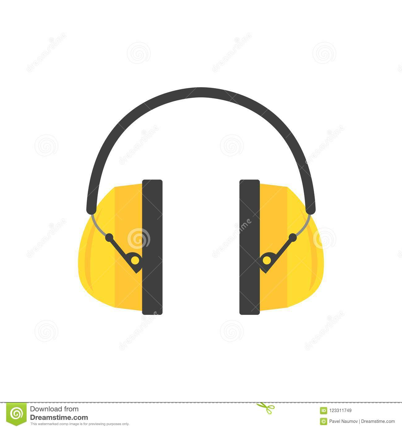Protective ear muffs. Yellow headphones for construction worker. Professional equipment for hearing safety. Flat vector