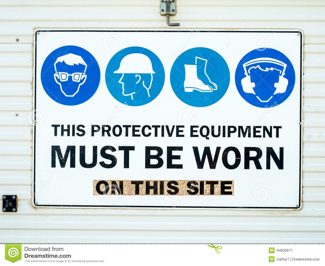 Protective equipment construction site sign stock image for Construction info