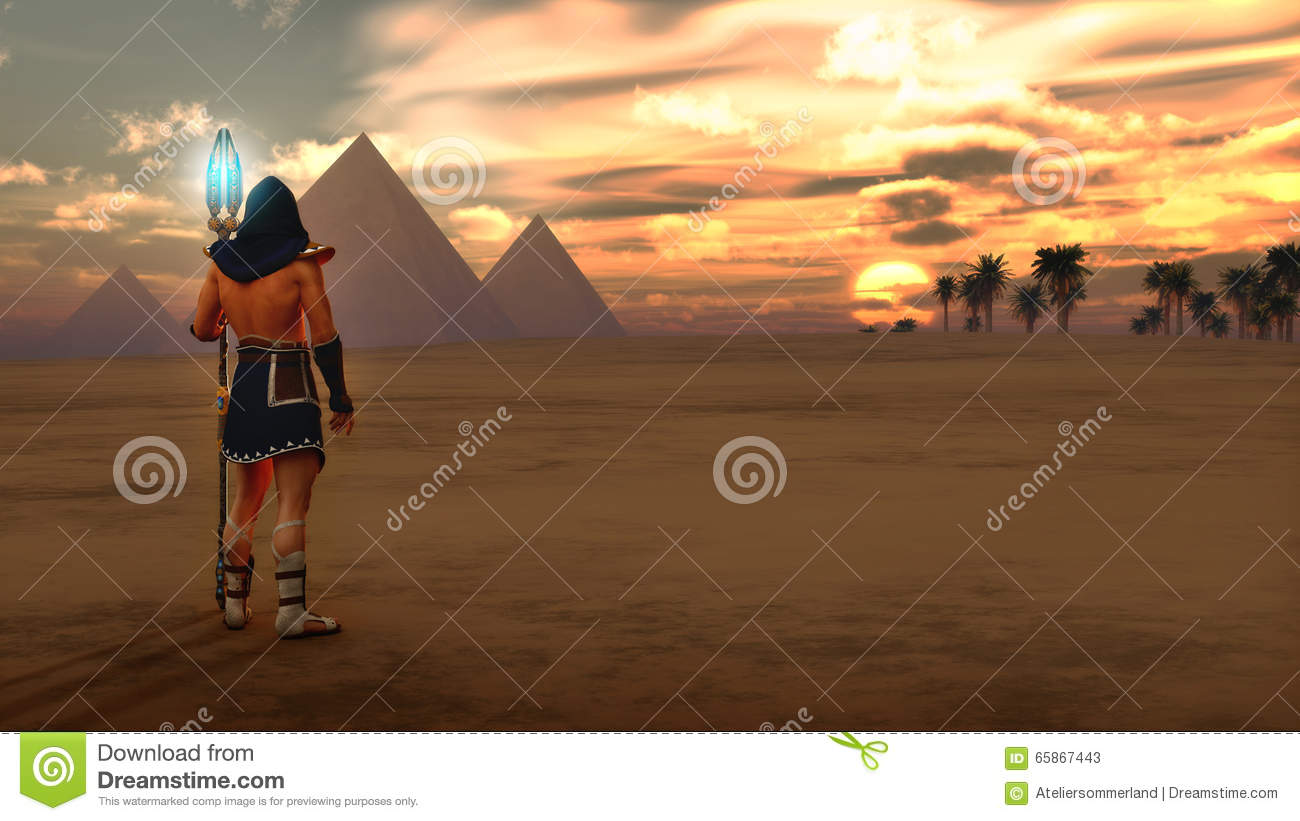 Egypt Warrior Illustration Anubis Pyramid Fantasy Art: The Protector's Journey, 3d CG Stock Illustration