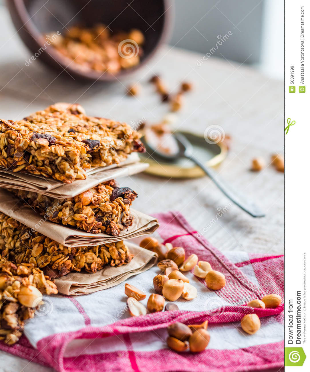 Protein Bars Granola With Seeds, Peanut Butter And Dried Fruit, Stock ...