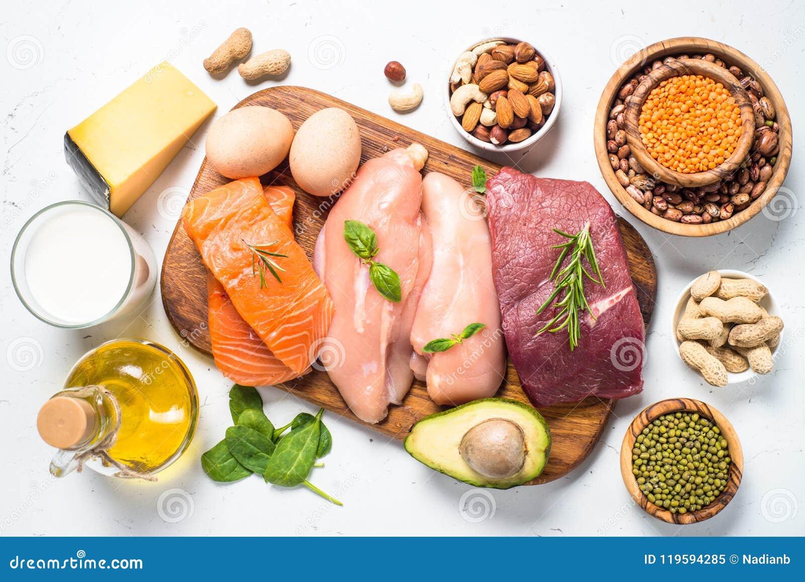Proteinkällor - kött, fisk, ost, muttrar, bönor och gräsplaner