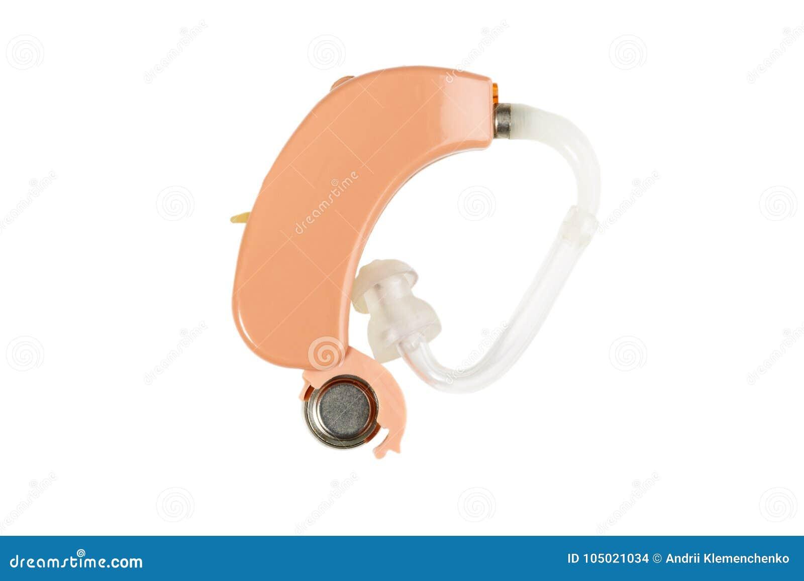 Protesi acustica isolata su fondo bianco, concetto di salute