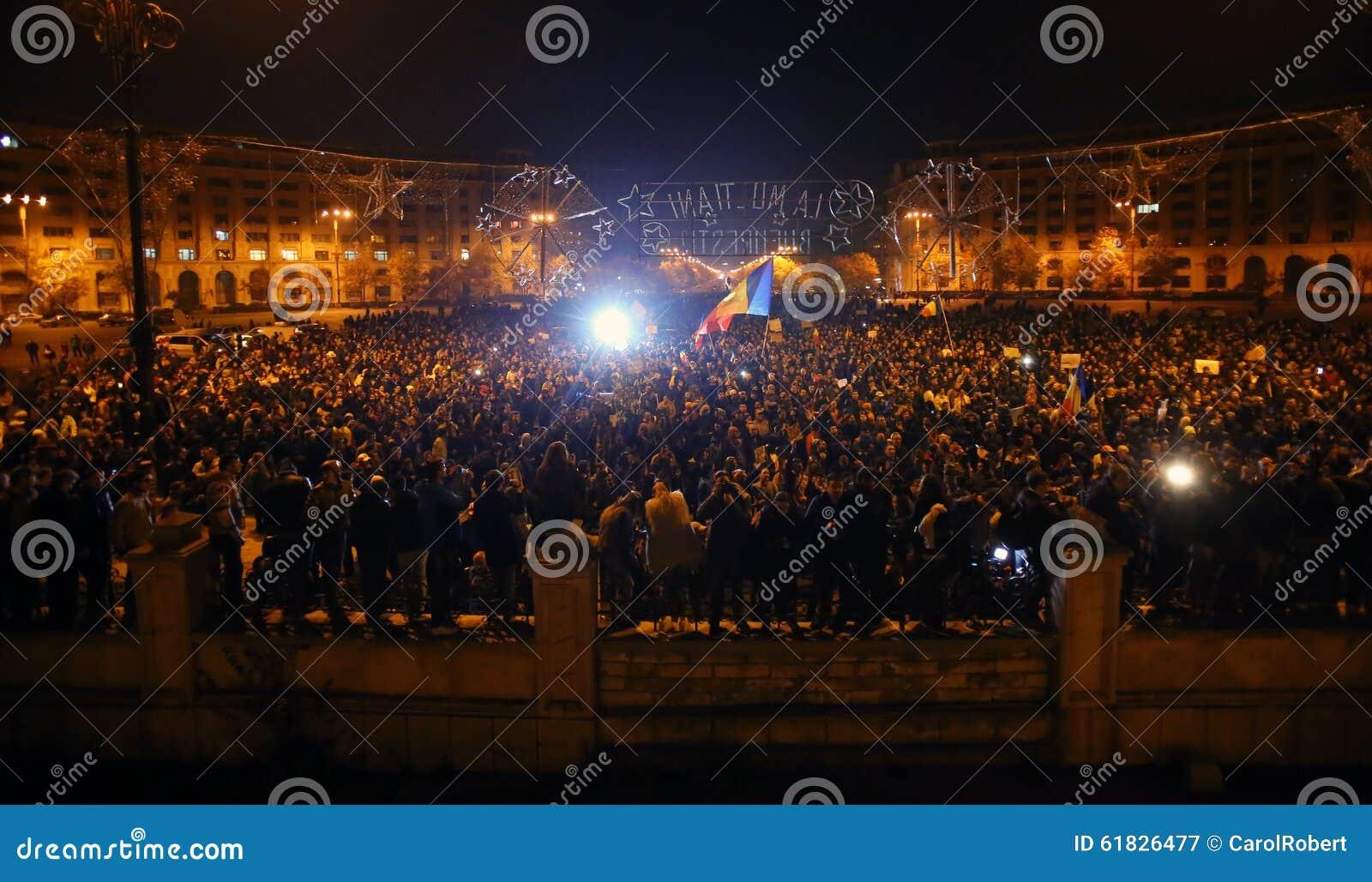 Protest in Boekarest, Roemenië