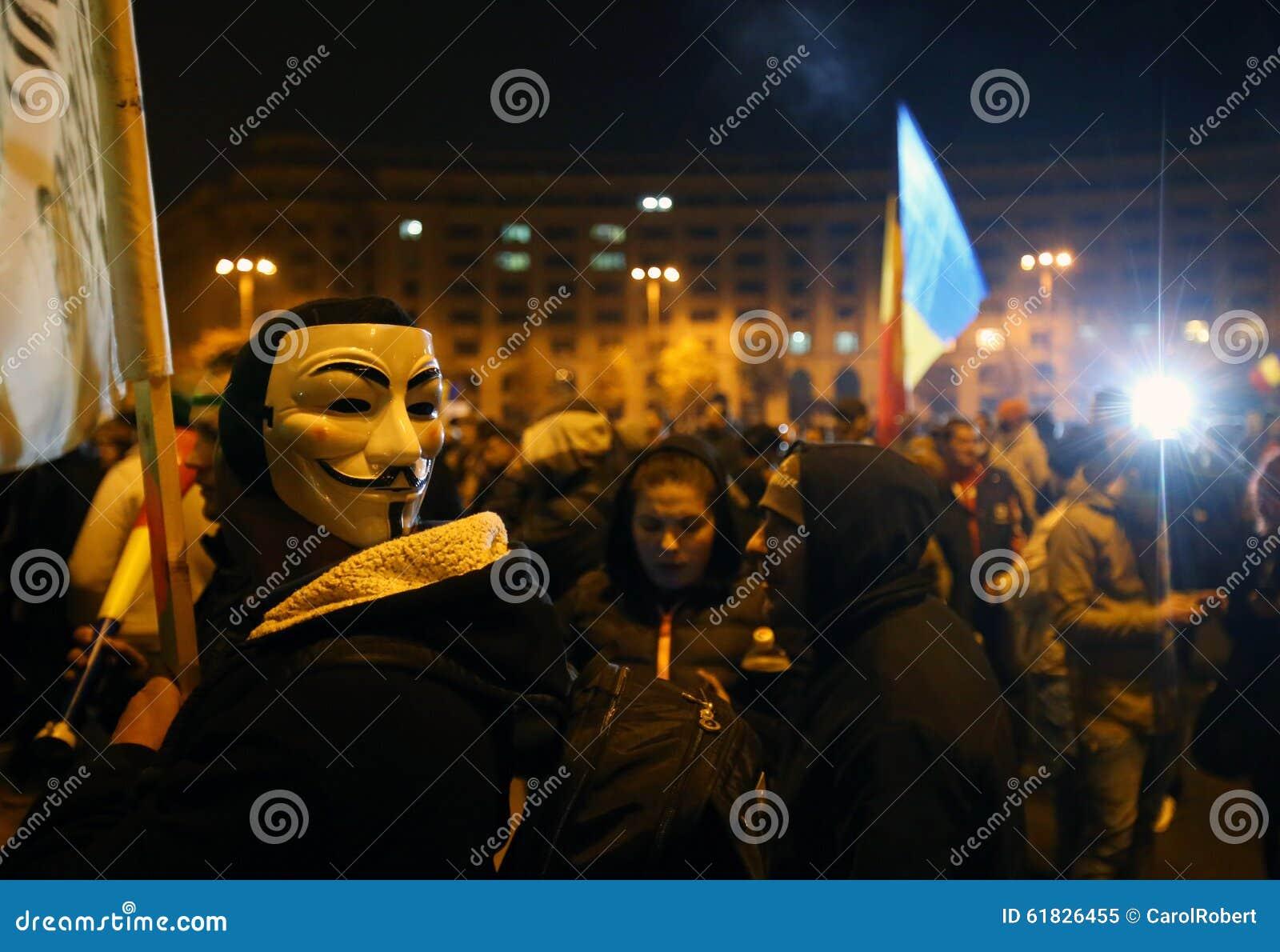Protest in Bukarest, Rumänien