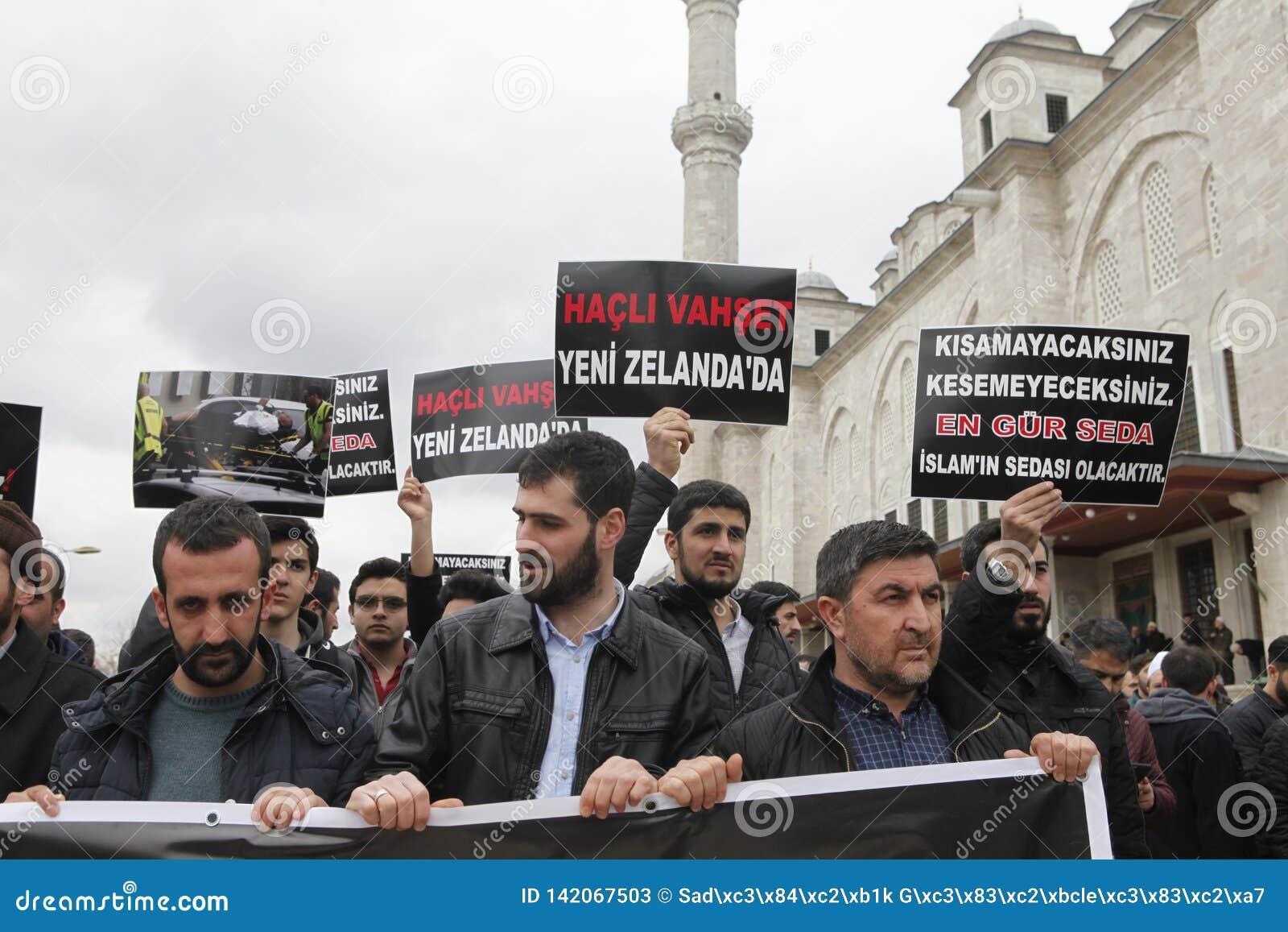 Protest mot massakern i Nya Zeeland