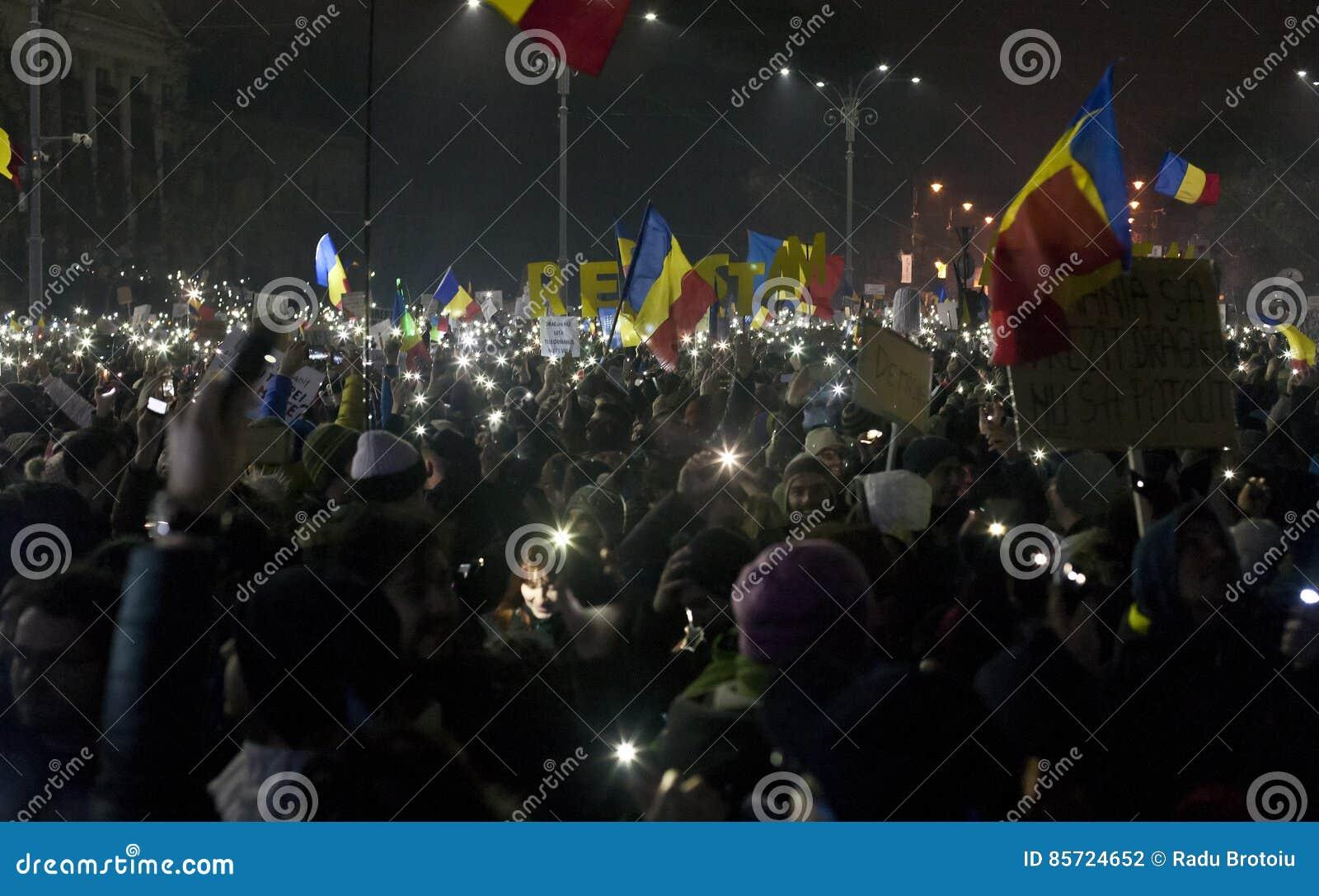 Protest tegen corruptiehervormingen in Boekarest