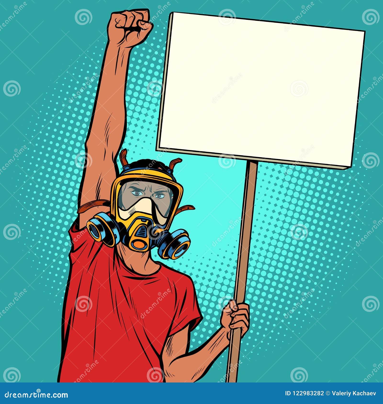 Protesta africana del hombre contra el aire contaminado, la ecología y los environmen