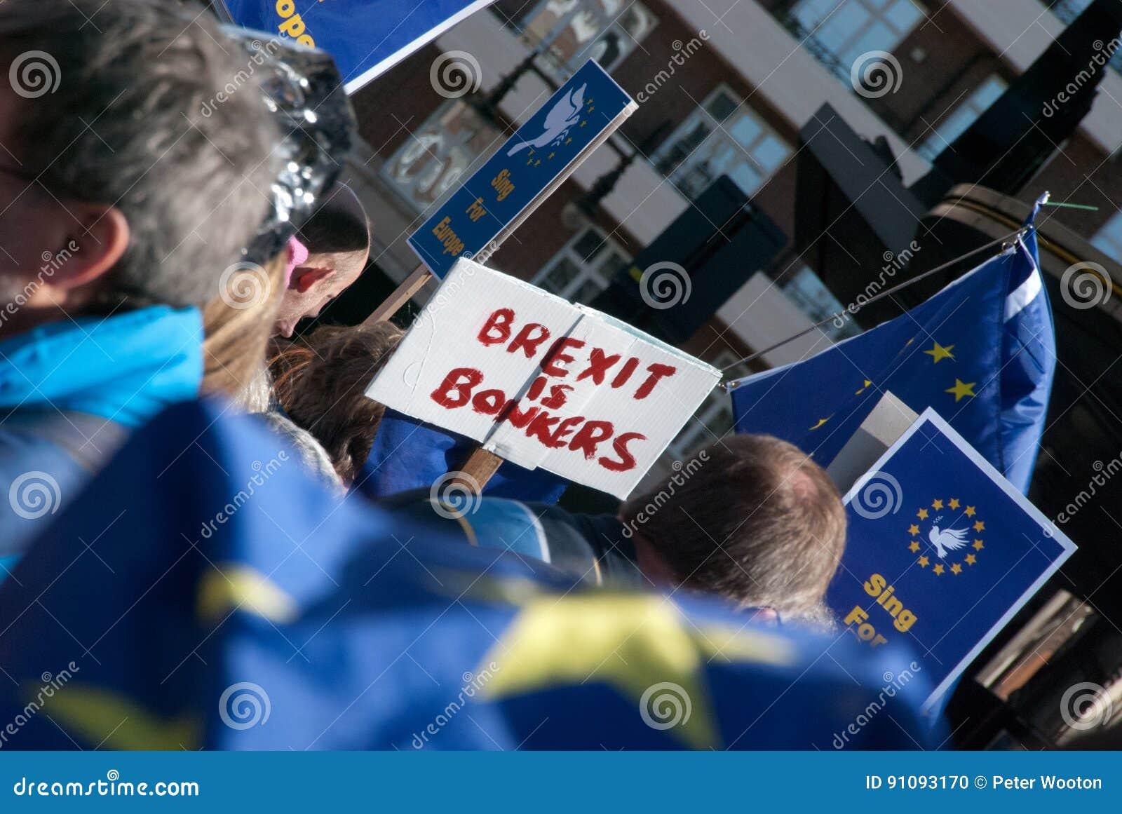 Protesta anti-Brexit con las banderas y el cartel