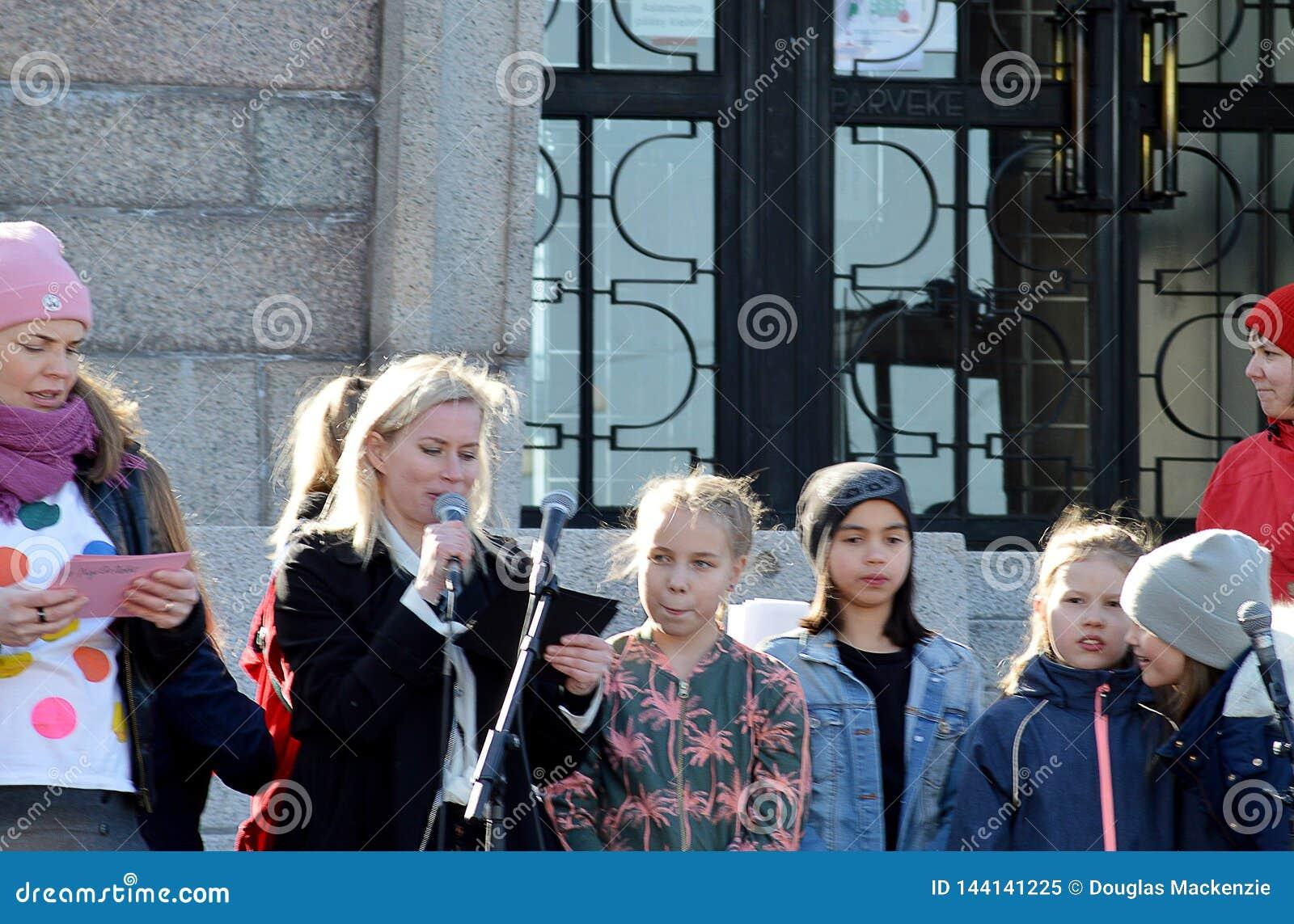 Protesta contra la inacci?n del gobierno en el cambio de clima, Helsinki, Finlandia