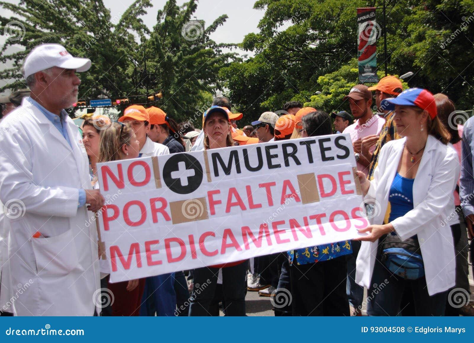 Protesta dei Venezuelans circa le scarsità della medicina