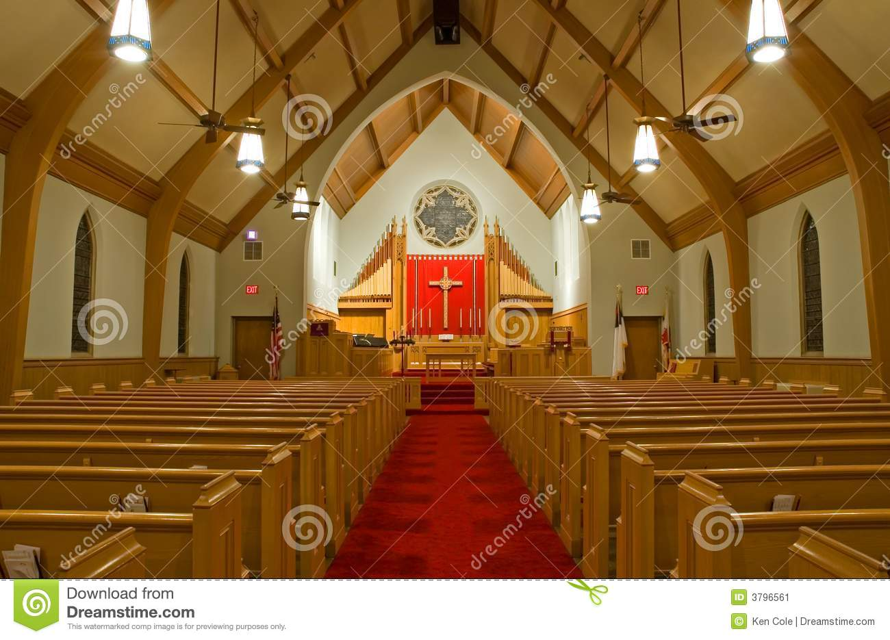 view of the inside of a modern Protestant church sanctuary.