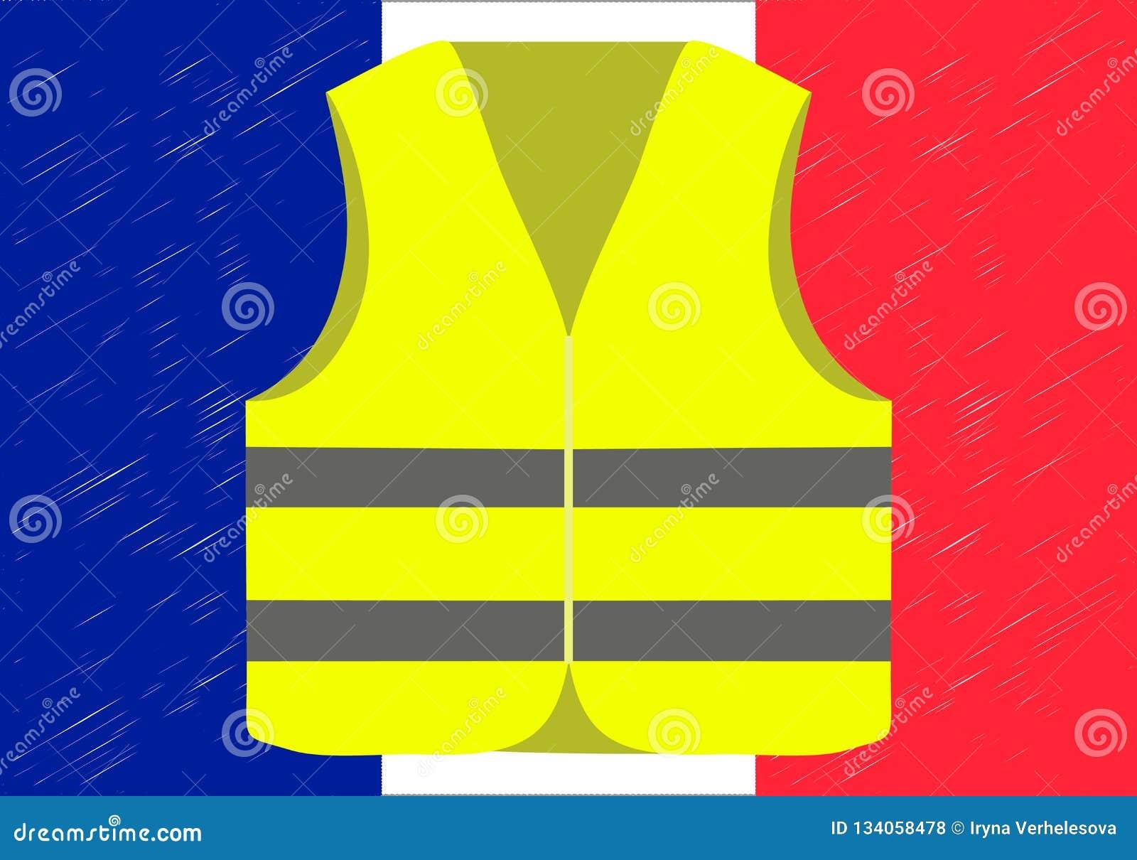 Protesten van gele vesten in Frankrijk Geschikt voor nieuws op Gilets Jaunes Vector van de gebeurtenissen die in Frankrijk plaats
