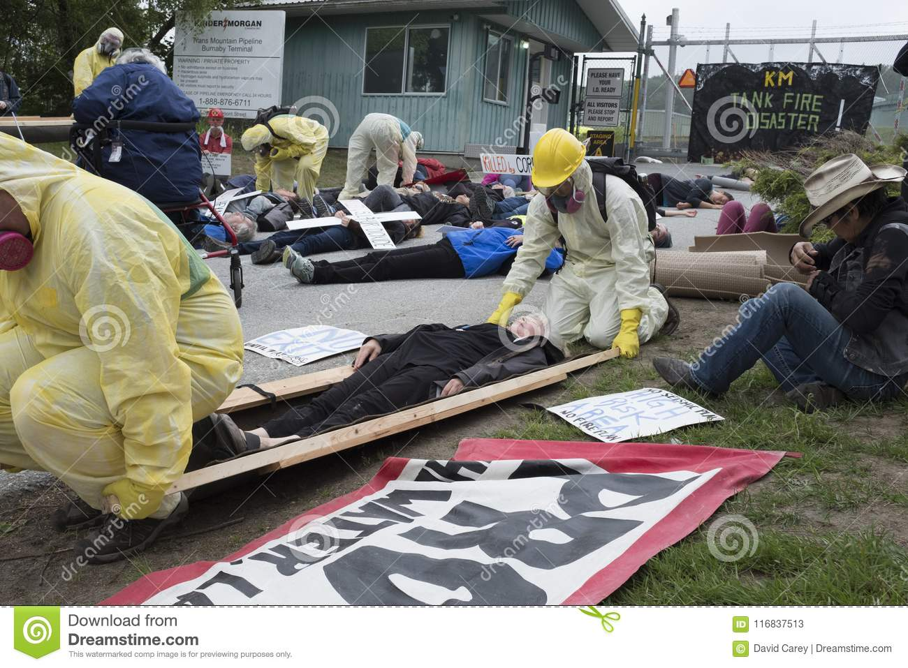 Kinder Morgan protesters stage a die in at the Kinder Morgan tank farm on Burnaby Mountain, BC