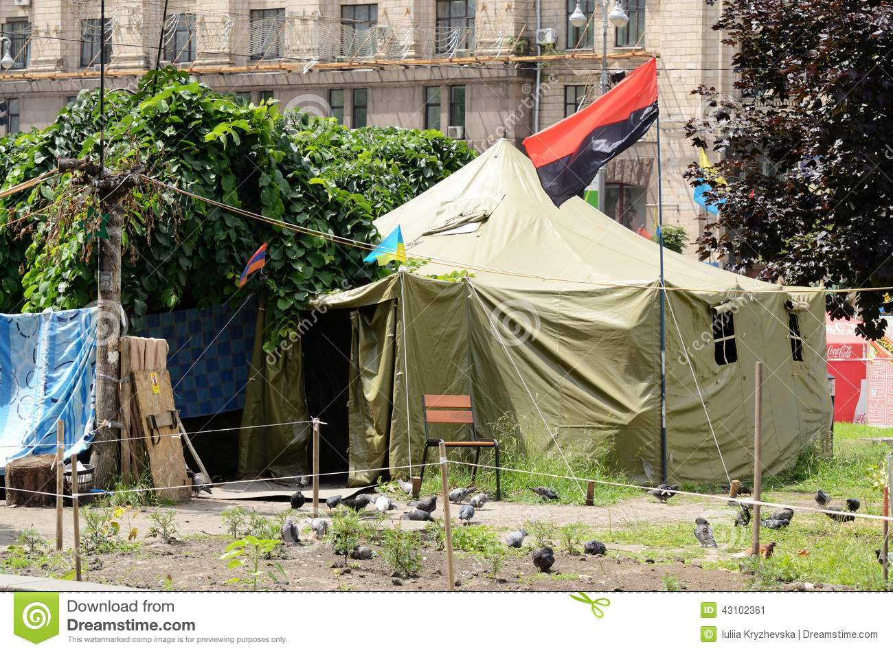Protesters tents at khreshatyk street with ukrainian insurgent army