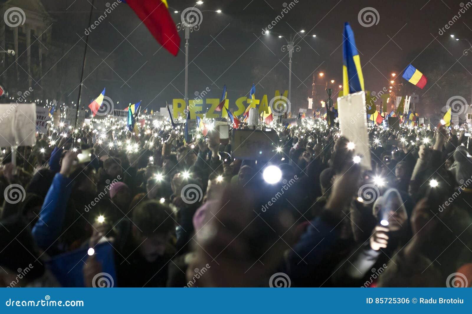 Protesto contra reformas da corrupção em Bucareste