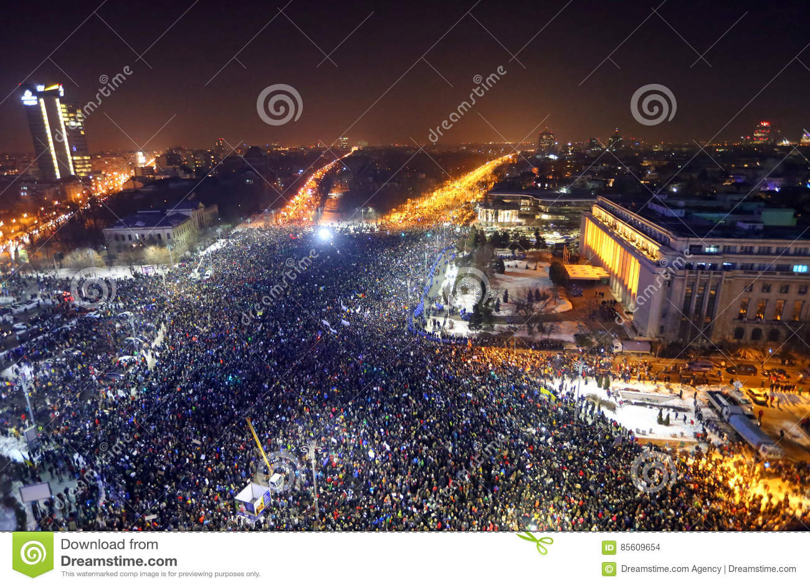 Protesto dos Romanians contra o decreto da corrupção