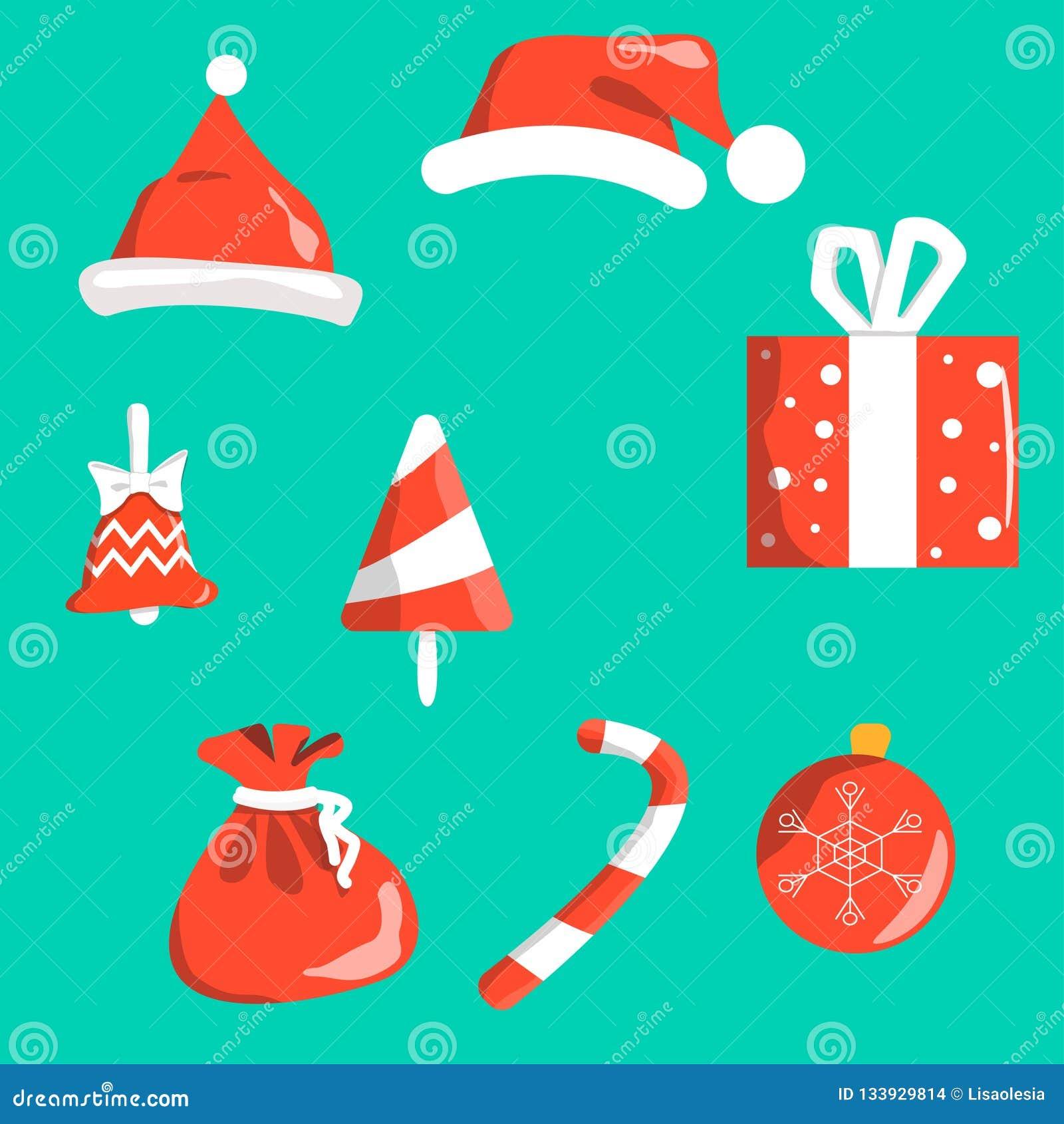 Protestuje boże narodzenie symbole czerwonych z bielem odizolowywającym na tle Santa s nakrętka, dzwon, choinki dekoracji piłka,