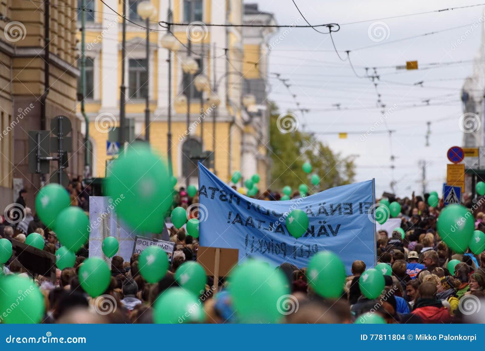 Protestverzameling tegen racisme en rechts extremistisch geweld in Finland