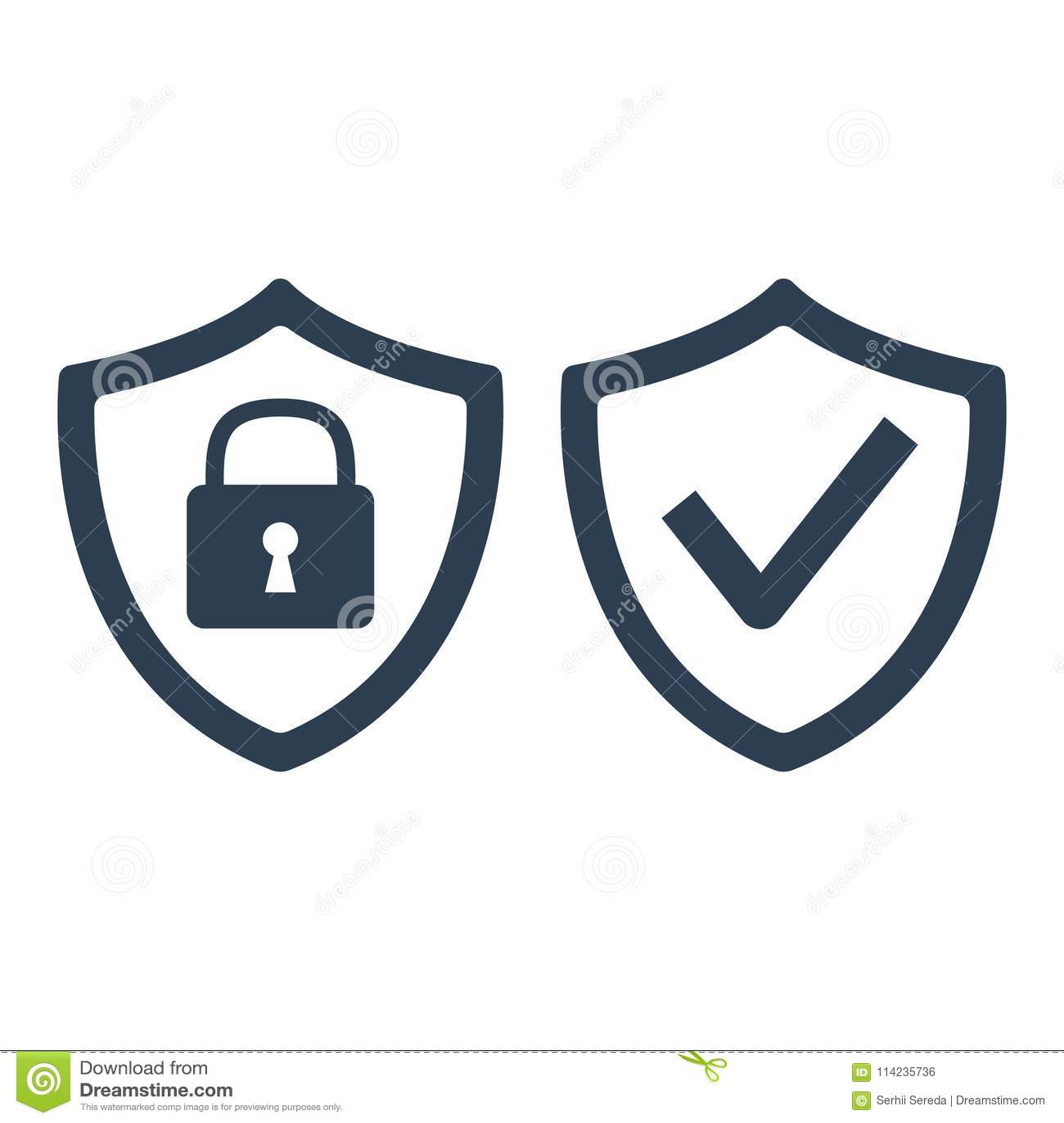 Protetor com ícone da marca da segurança e de verificação no fundo branco