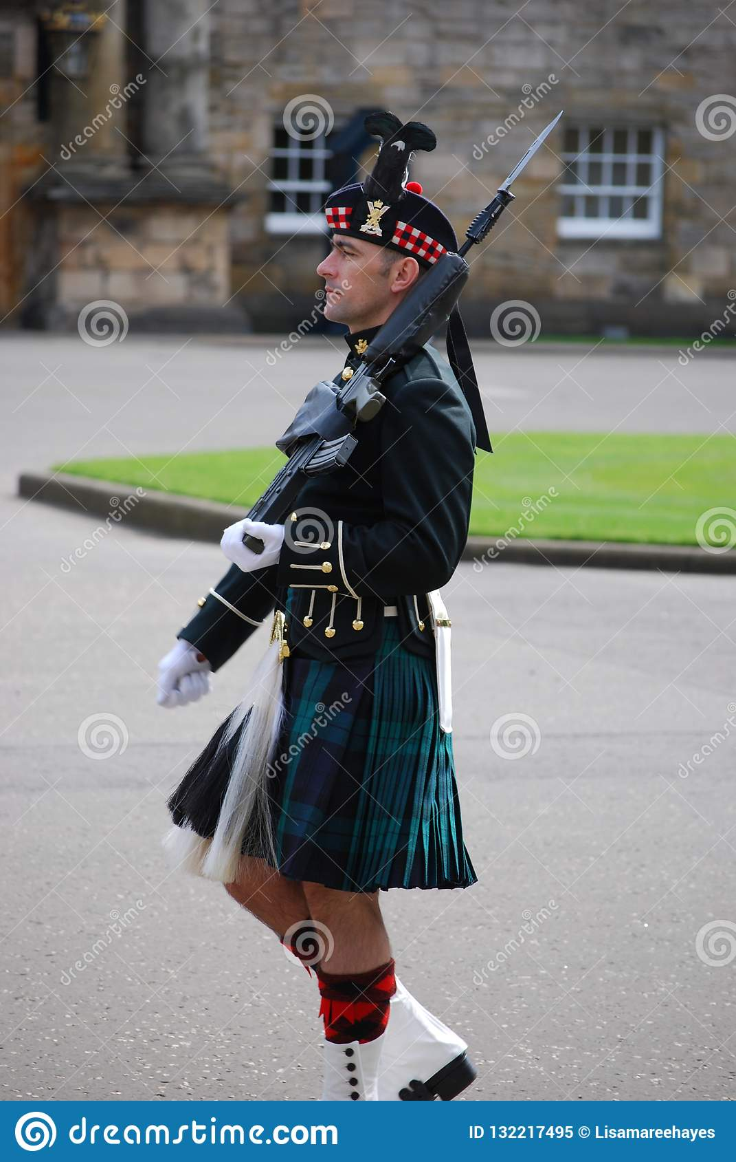 Protetor fora do palácio de Holyrood, Edimburgo, Escócia