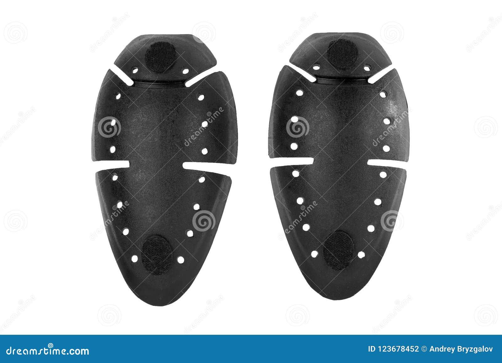 Protetor preto do joelho do polímero, kneepads, protetores do protetor, segurança para o corpo da proteção isolado no fundo branc