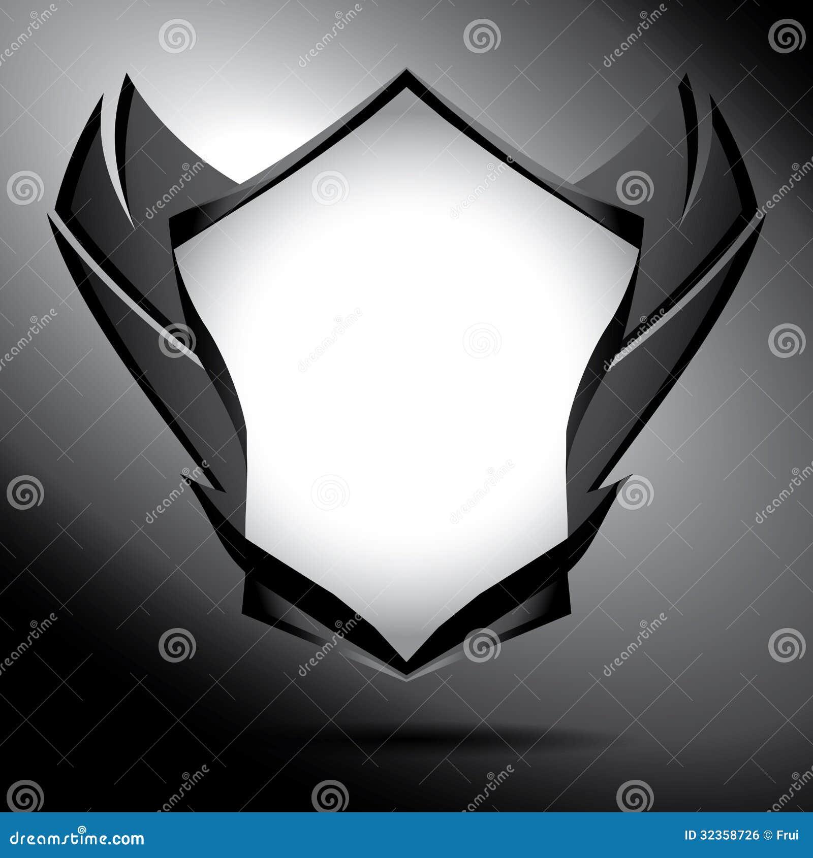 Protetor preto e branco com asas