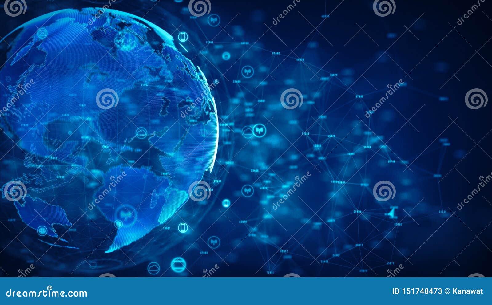 Protezione cyber della rete di informazione e di sicurezza Rete futura di tecnologia per il concetto di Internet e di affari Elem