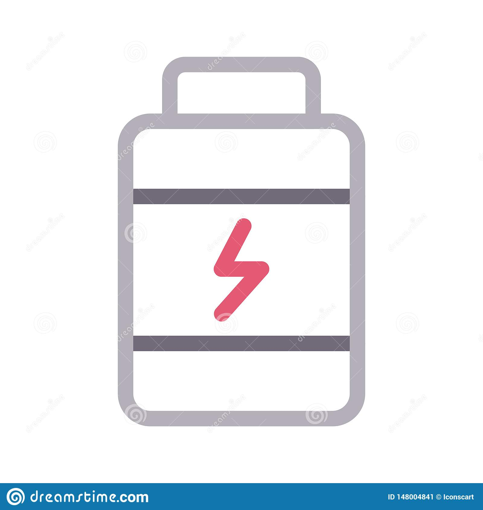 Protiens Jar Thin Color Line Vector Icon Stock Vector