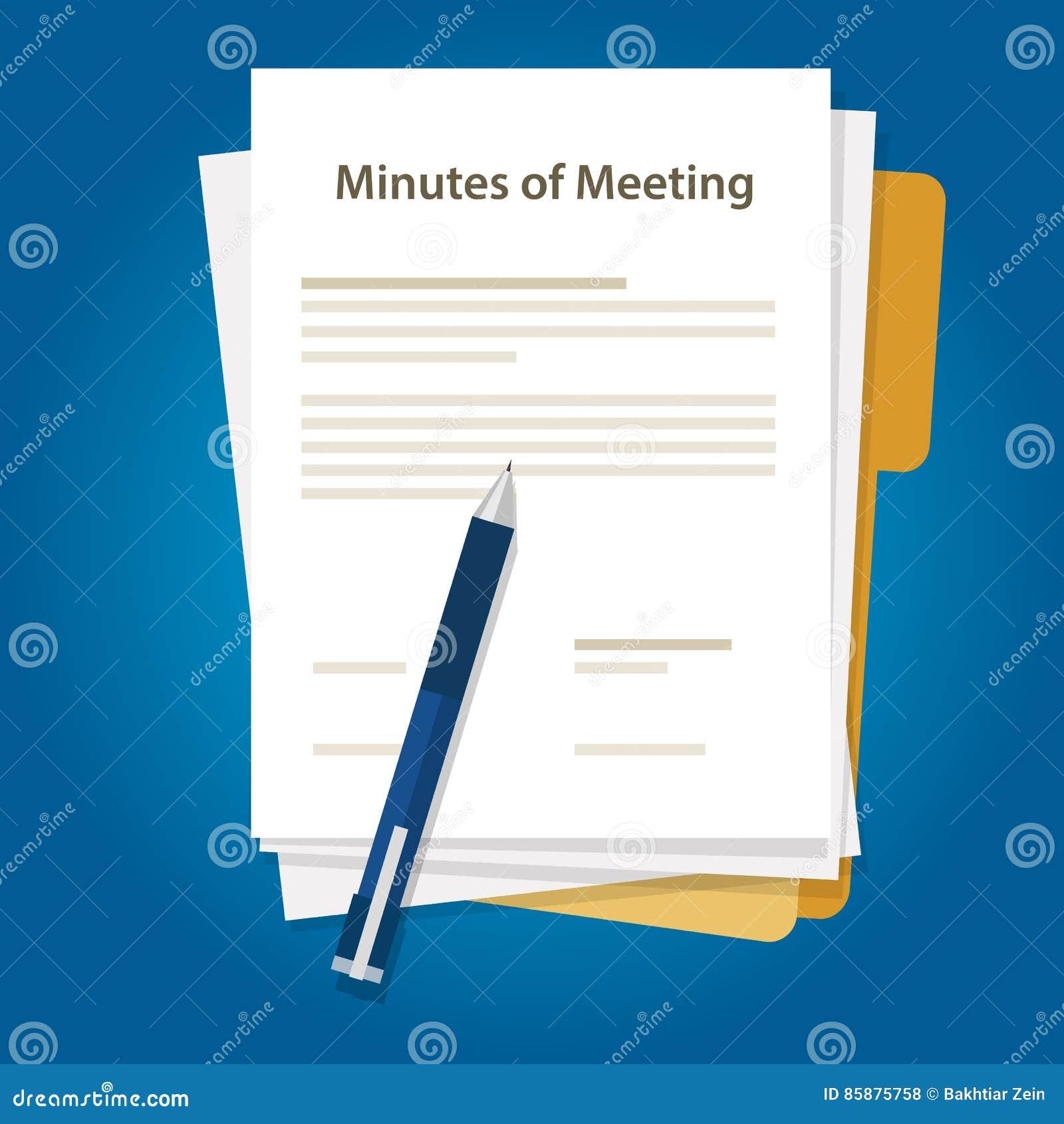 Protokolldokumentenpapier Schreiben Stift über Zusammenfassung Der