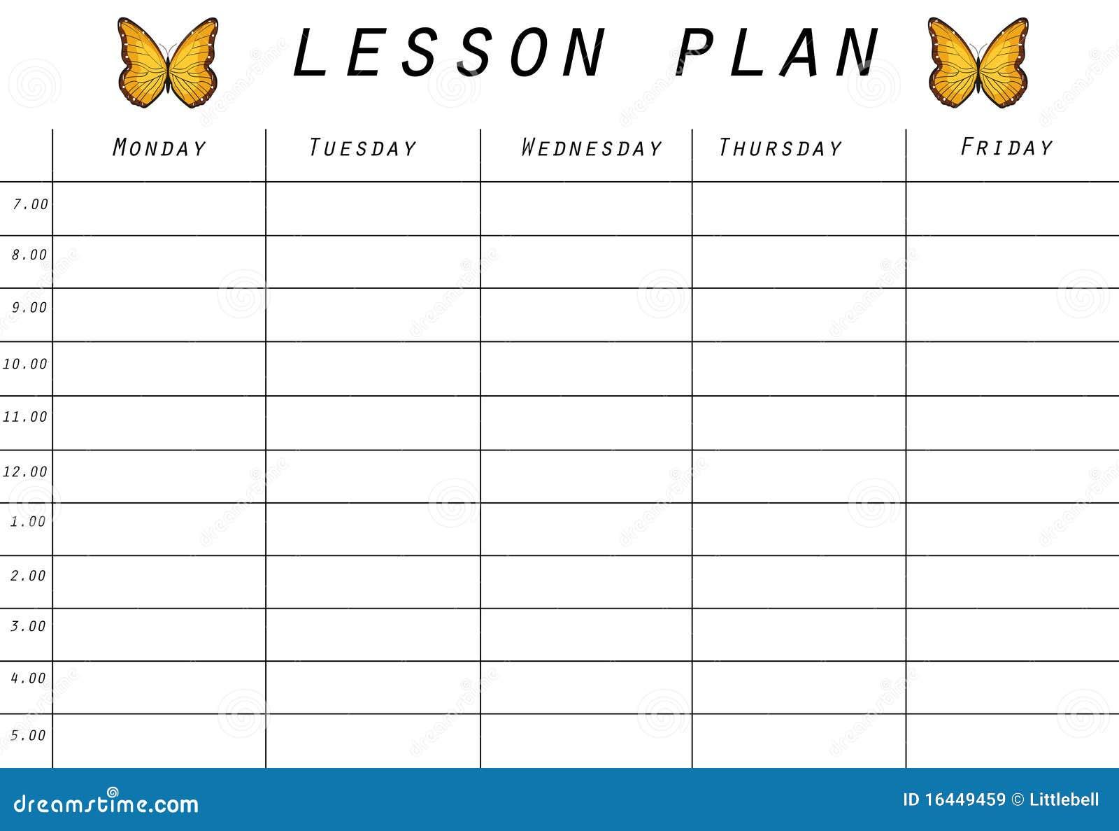 Prototipo Del Plan De Lección Stock de ilustración - Ilustración ...