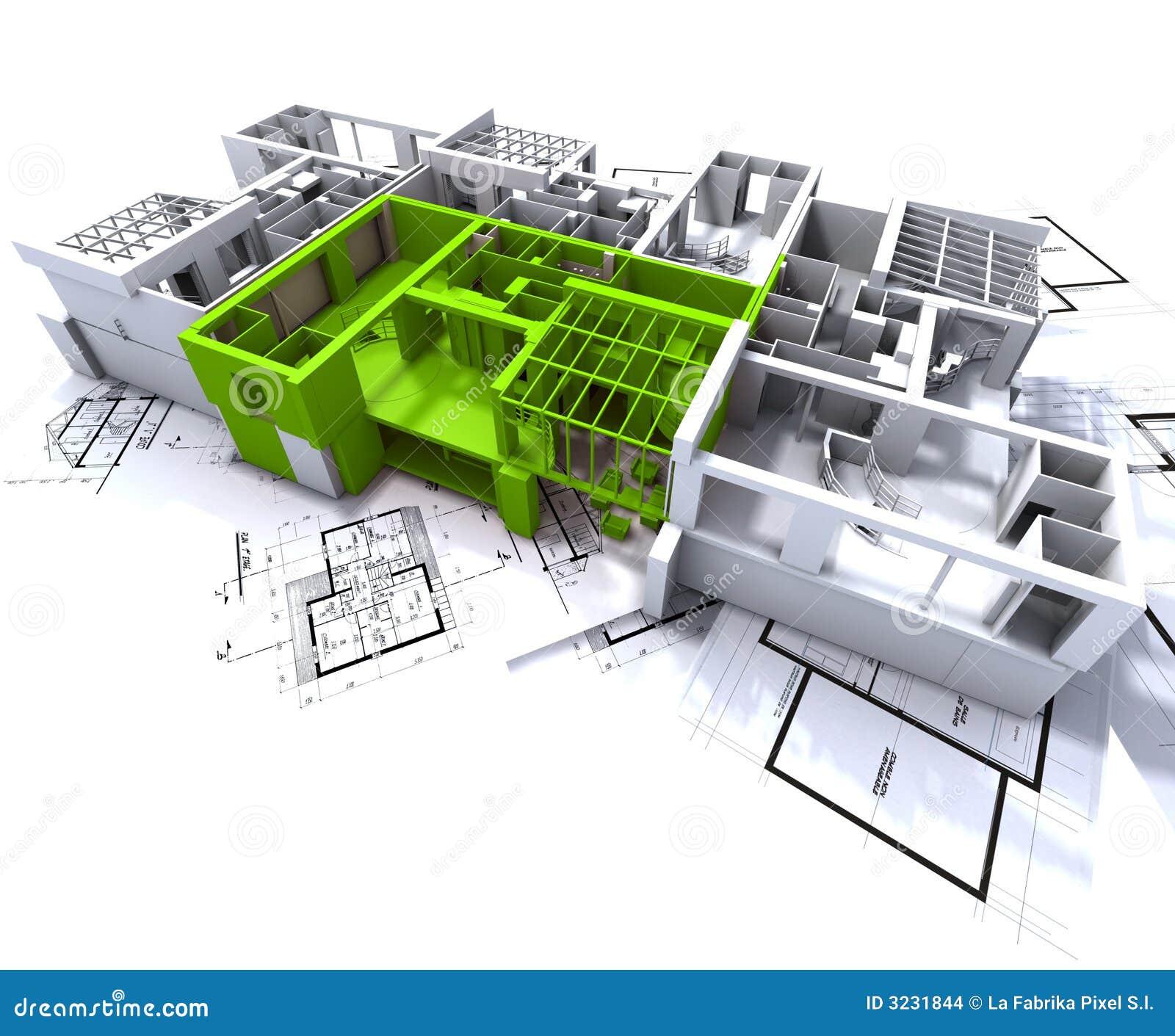 Prototipo verde del apartamento en azul