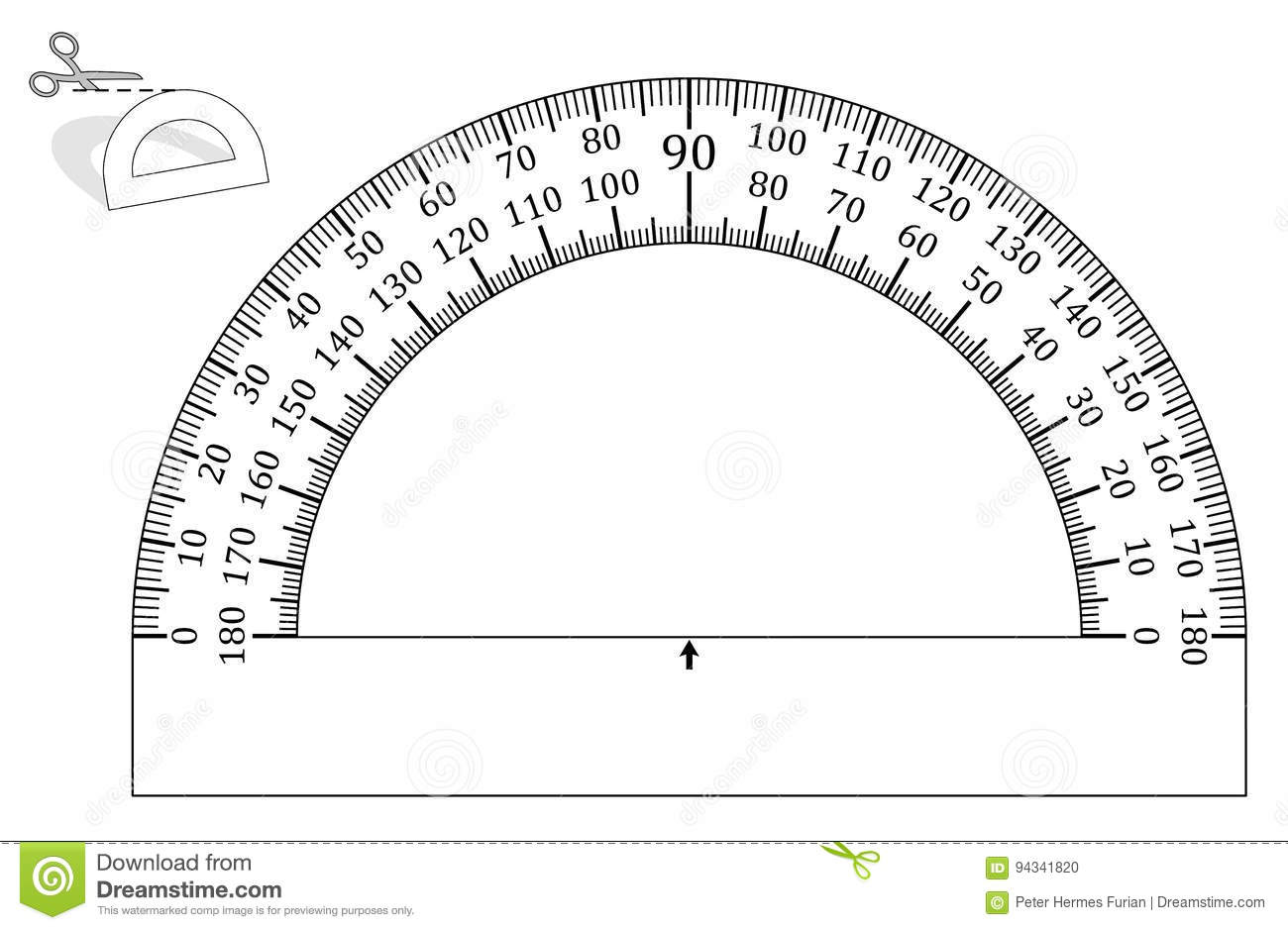 worksheet Protractor Print protractor template paper model stock vector image 94341820 royalty free vector