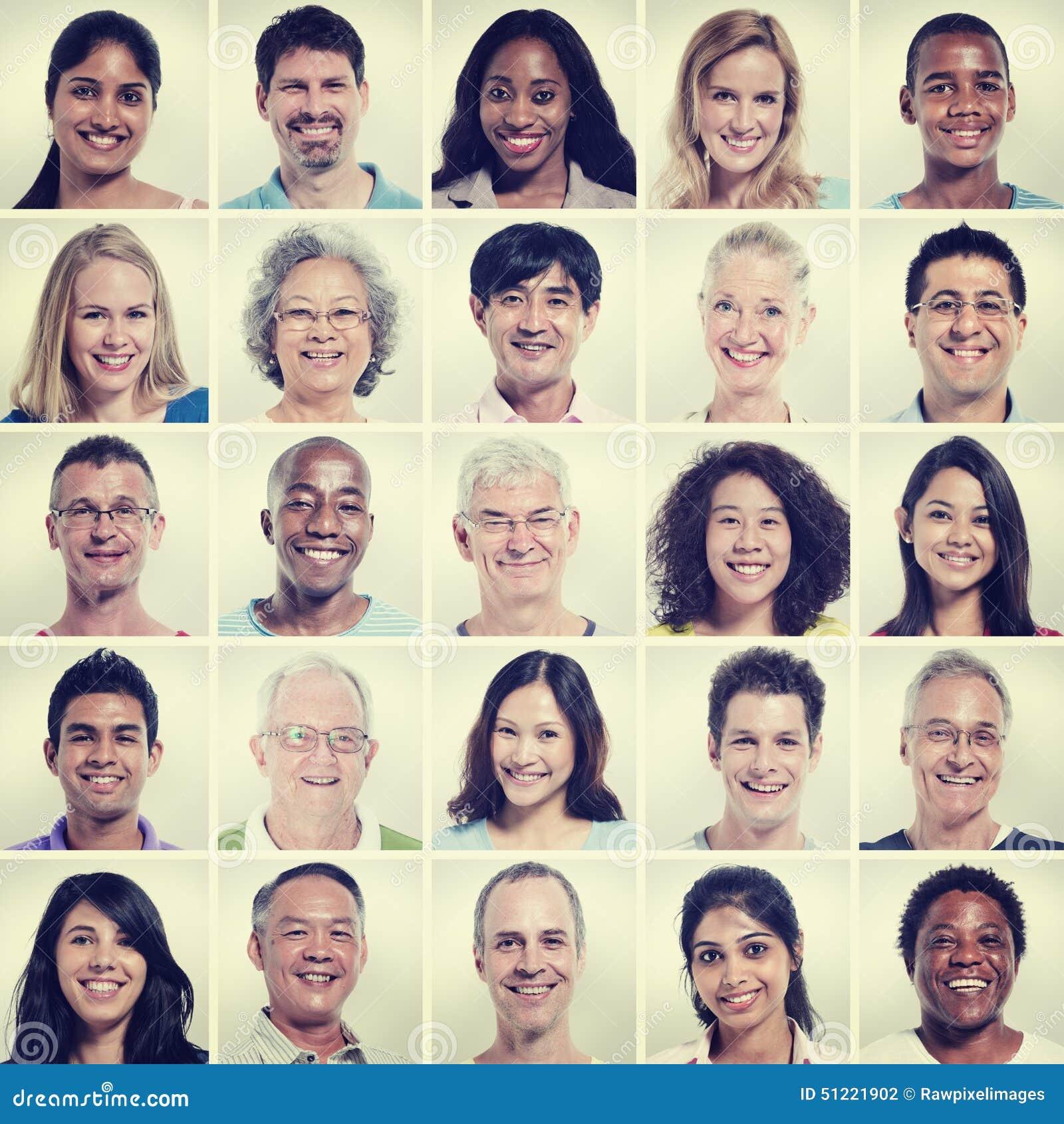 Protrait концепции счастья общины людей разнообразия группы