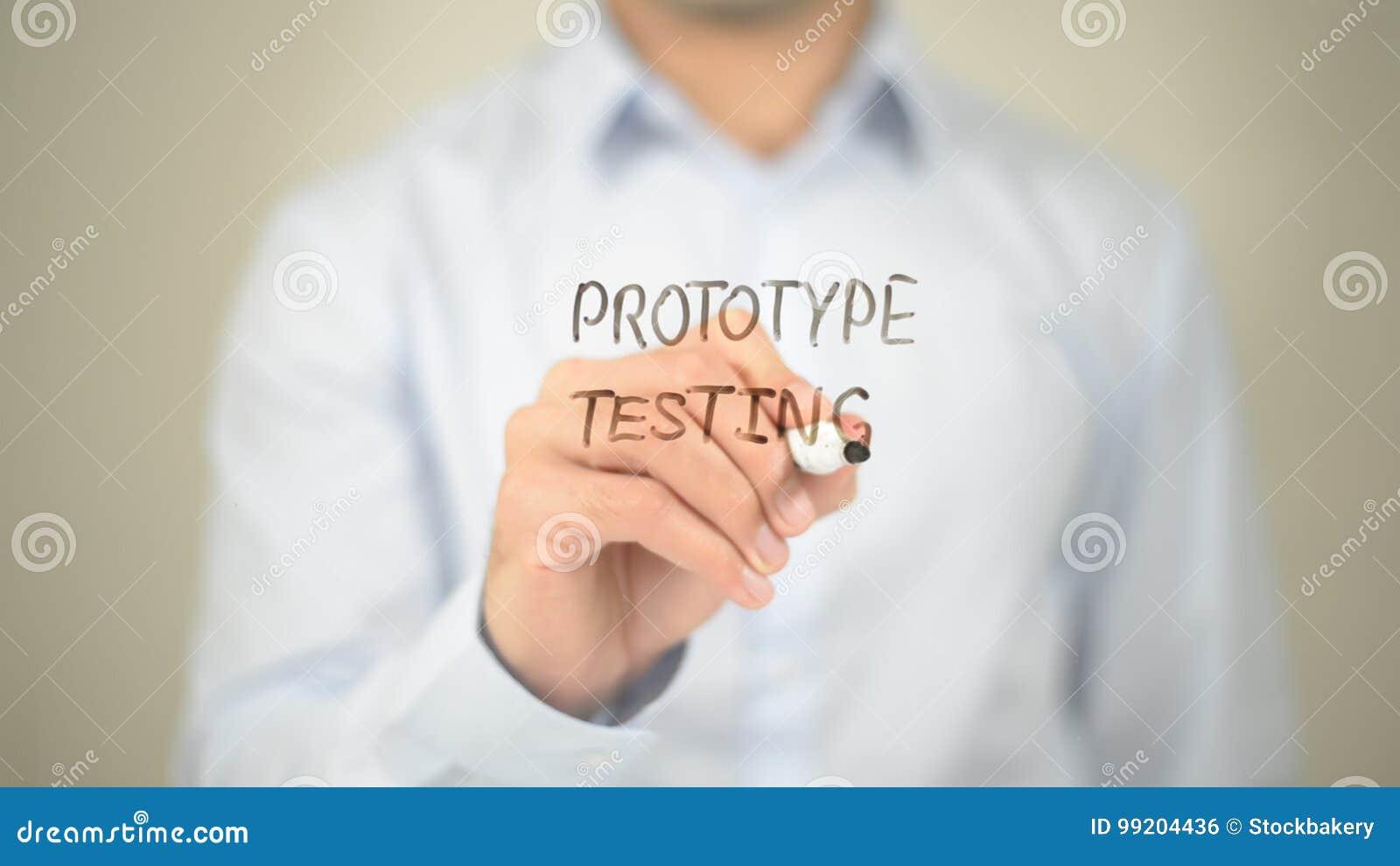 Protype Testing , Man writing on transparent screen