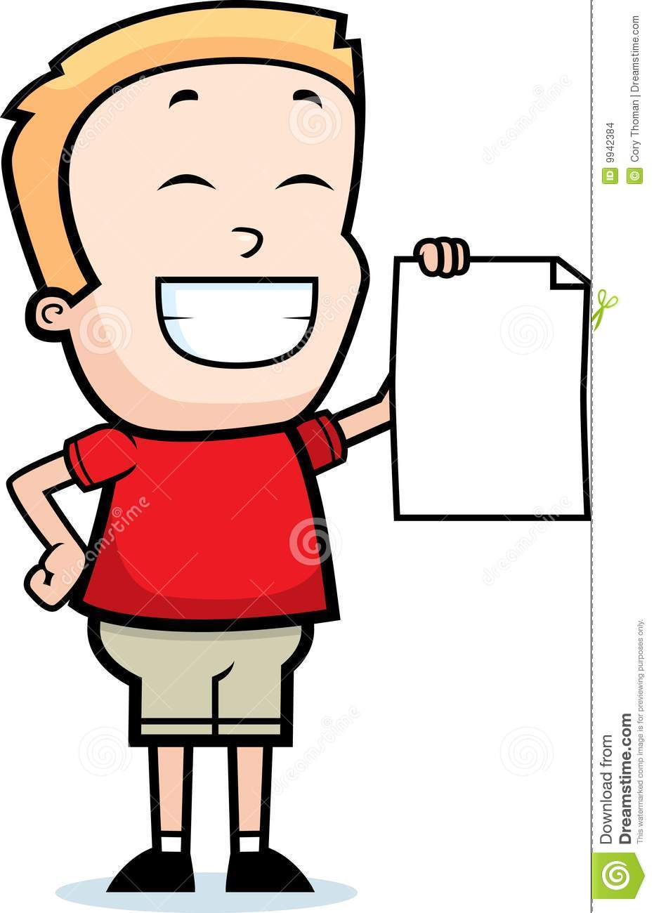 cartoon boy smiling and holding a piece of paper.
