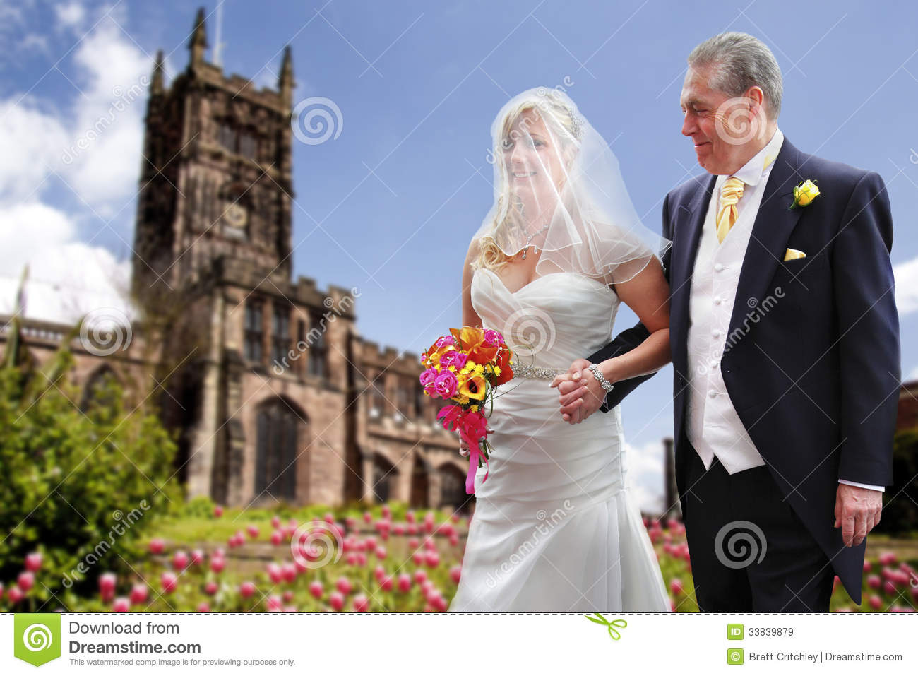 Proud father and bride